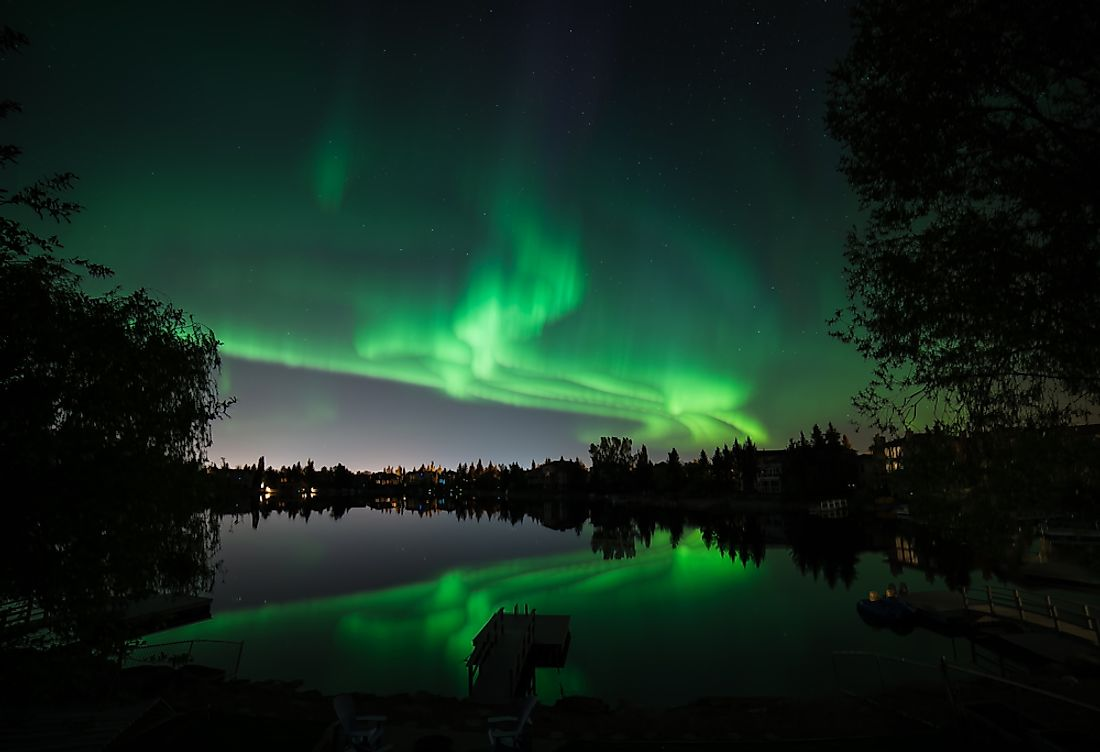 Northern Lights over a Canadian lake.