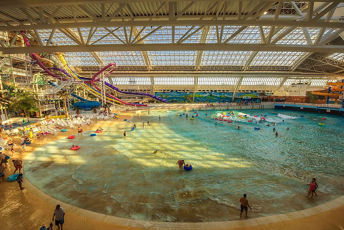 World Waterpark, in Alberta's West Edmonton Mall was the first indoor waterpark upon its opening in 1985. Editorial credit: Nick Fox / Shutterstock.com