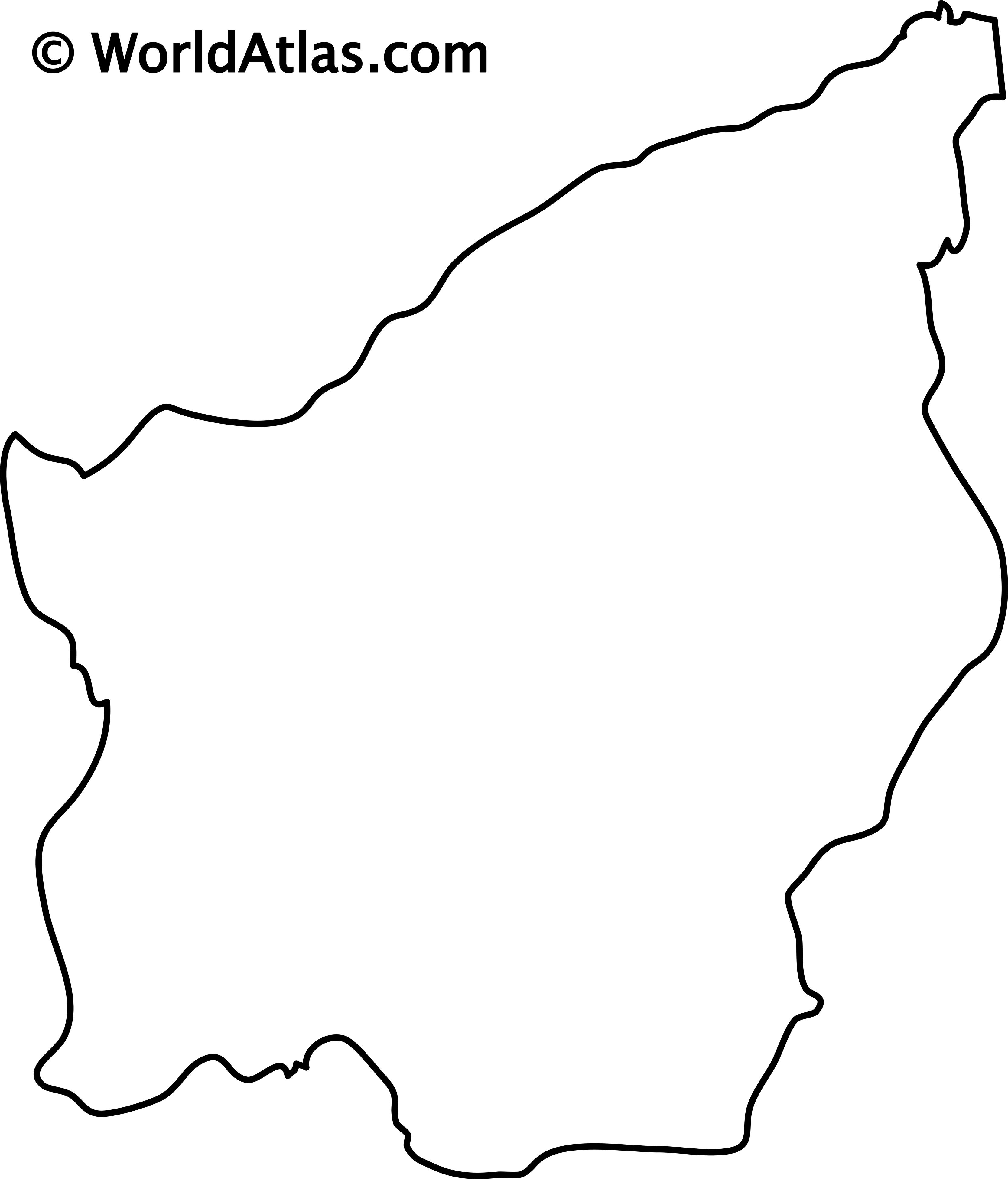 Blank Outline Map of San Marino