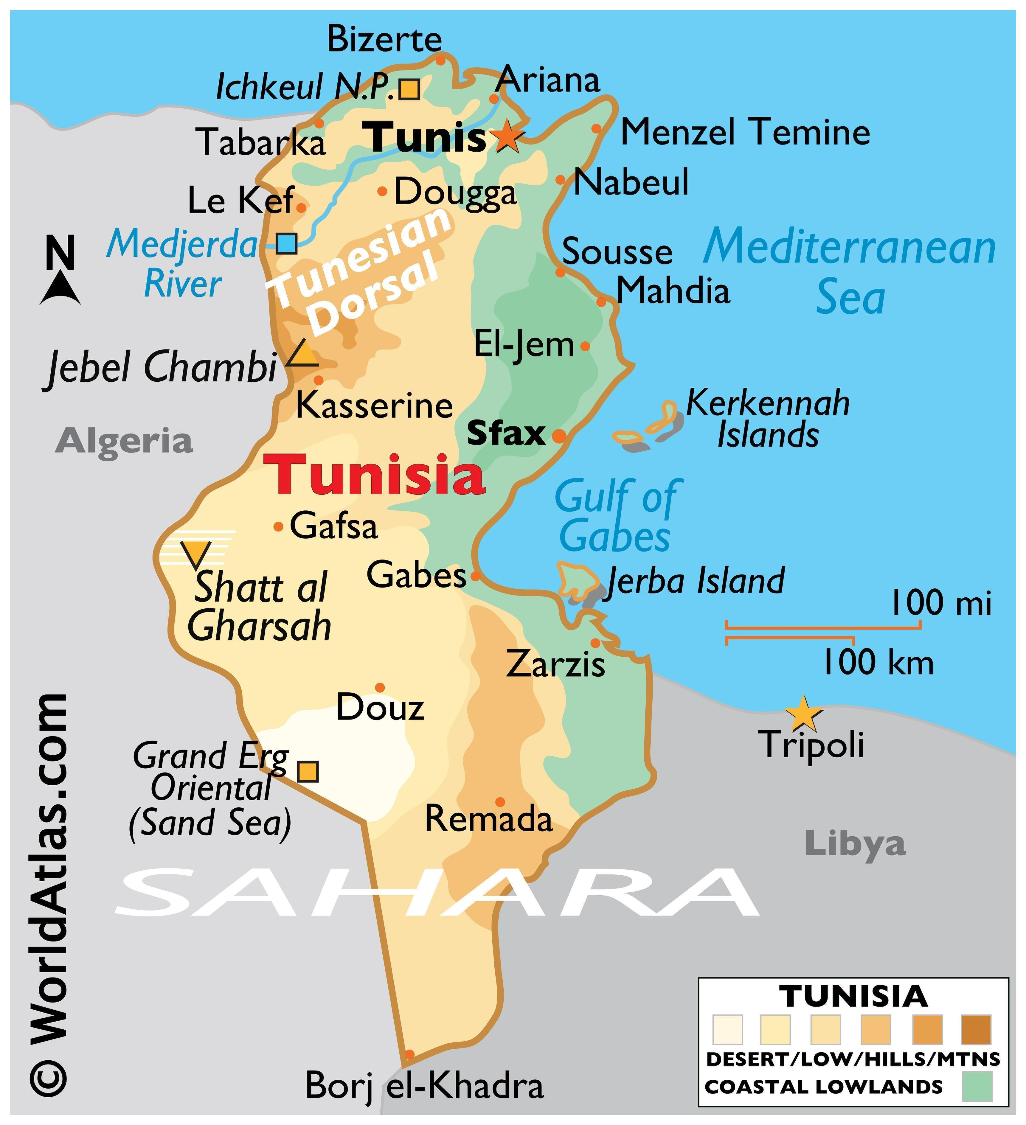 Phyiscal Map of Tunisia With State Boundaries. It shows the physical features of the Tunisia including mountain ranges, rivers, and major lakes, relative location of major cities, and more.