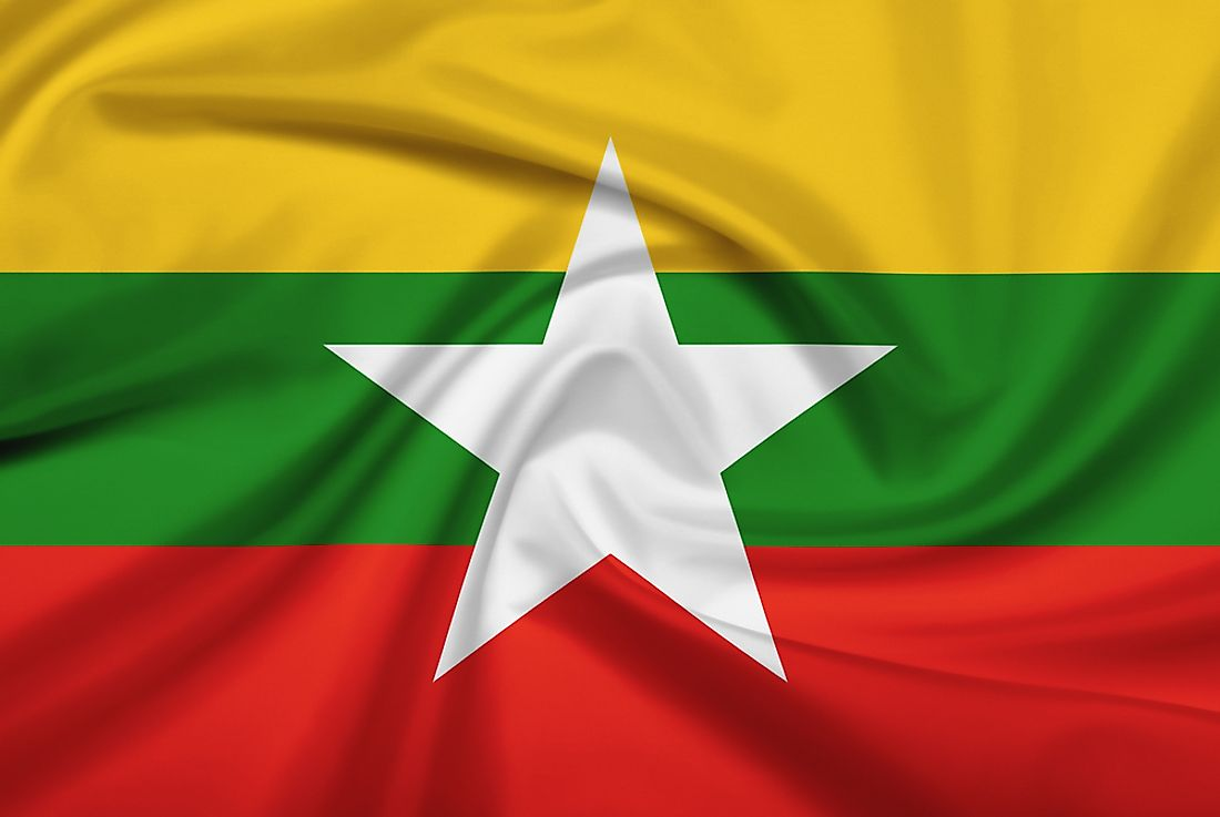 The official flag of Myanmar (Burma).