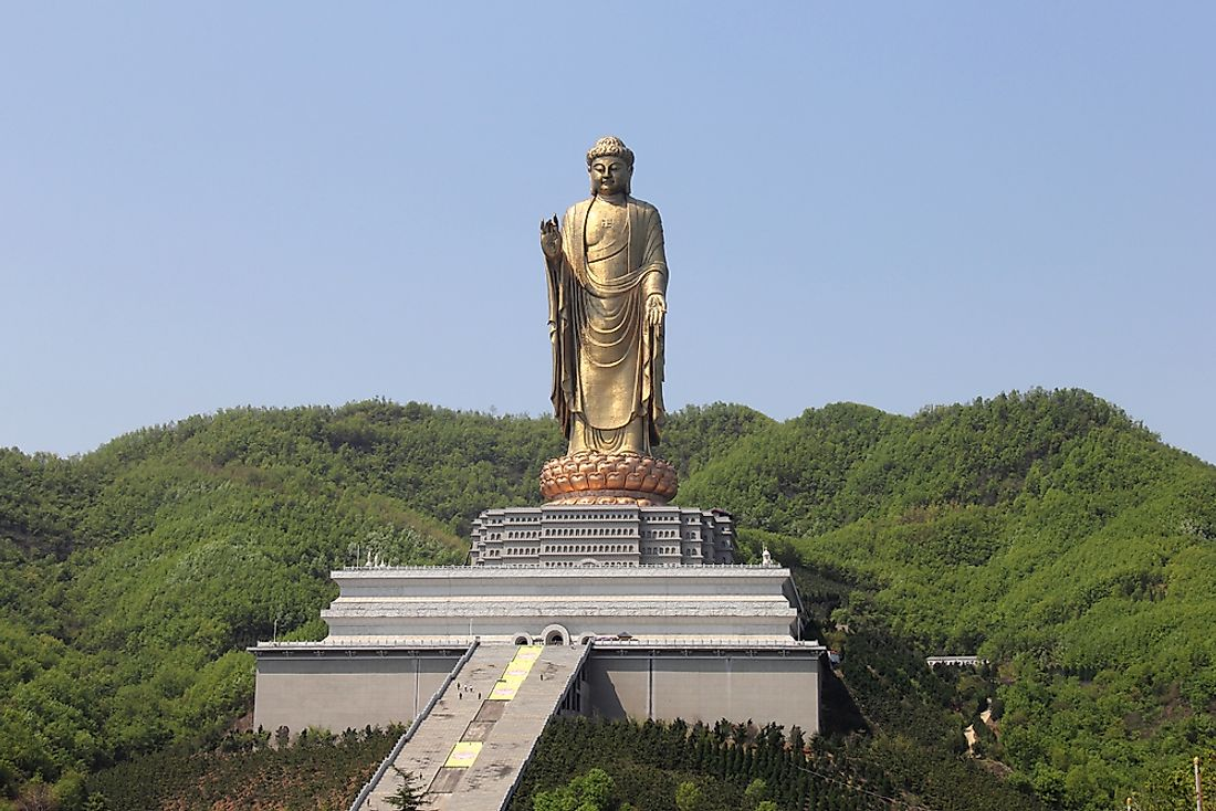 China's 420-foot tall Spring Temple Buddha is the second-tallest statue on Earth.