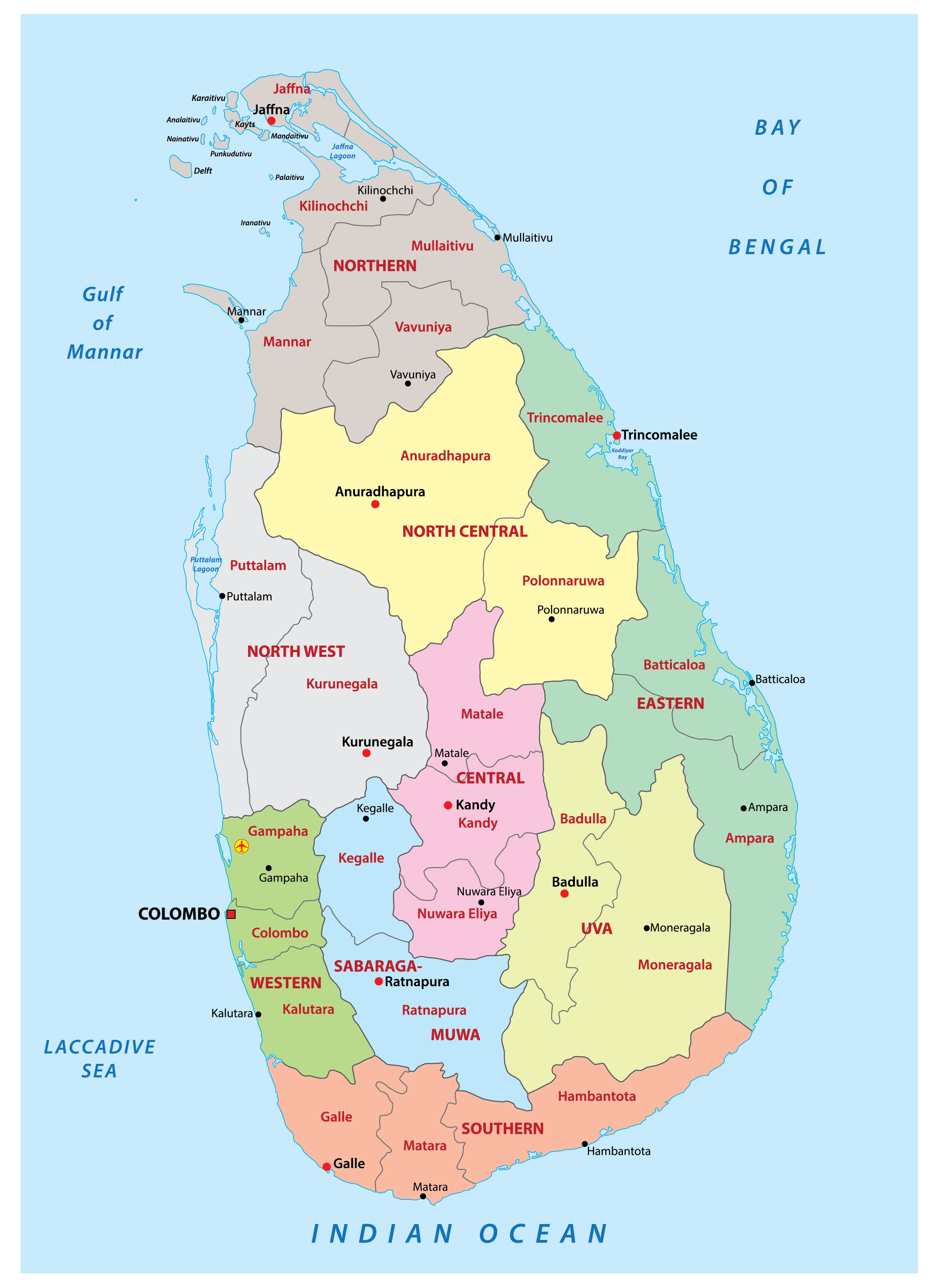 Political Map of Sri Lanka showing the 9 provinces, their capitals, and the national capital cities.