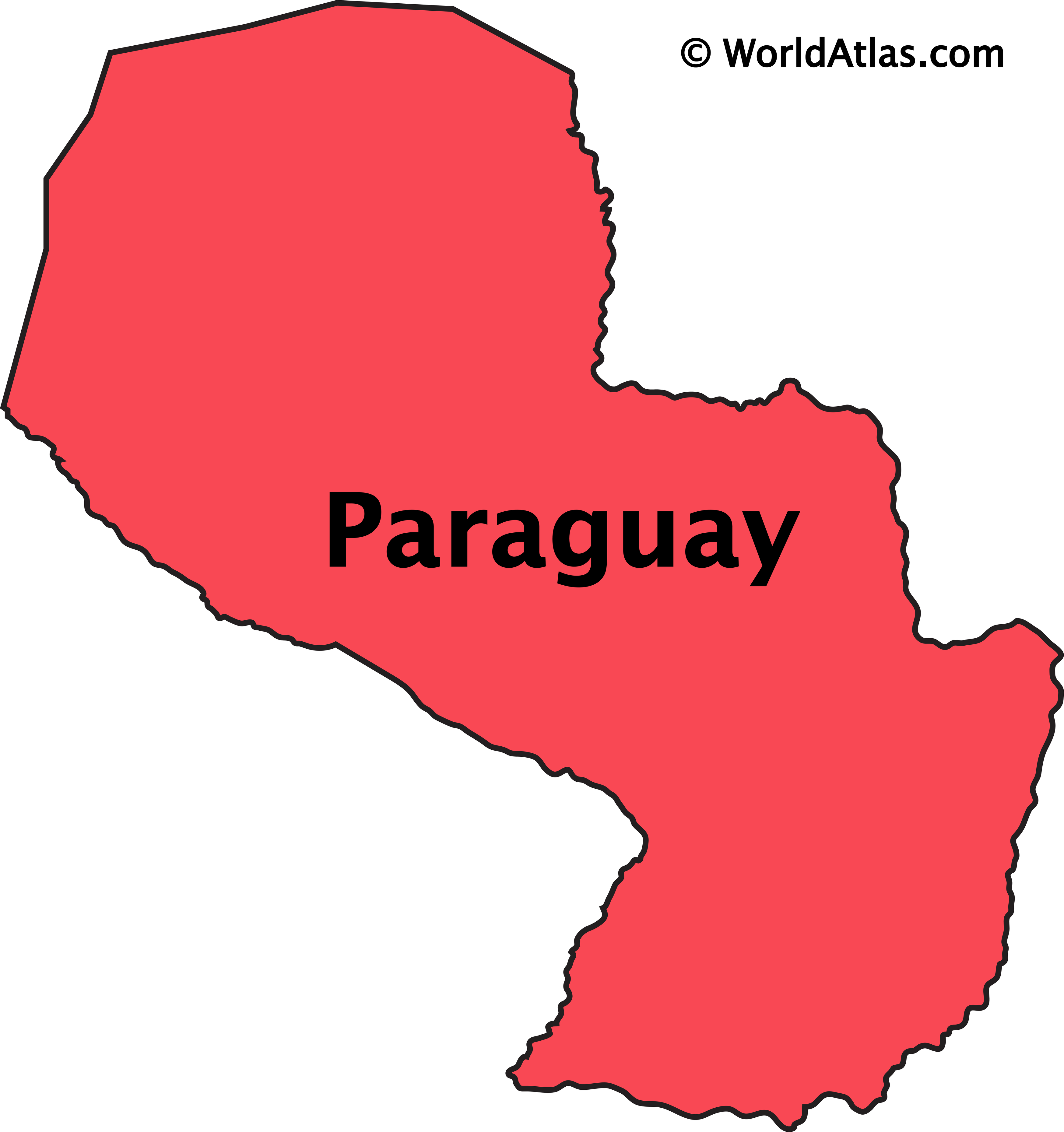Outline Map of Paraguay