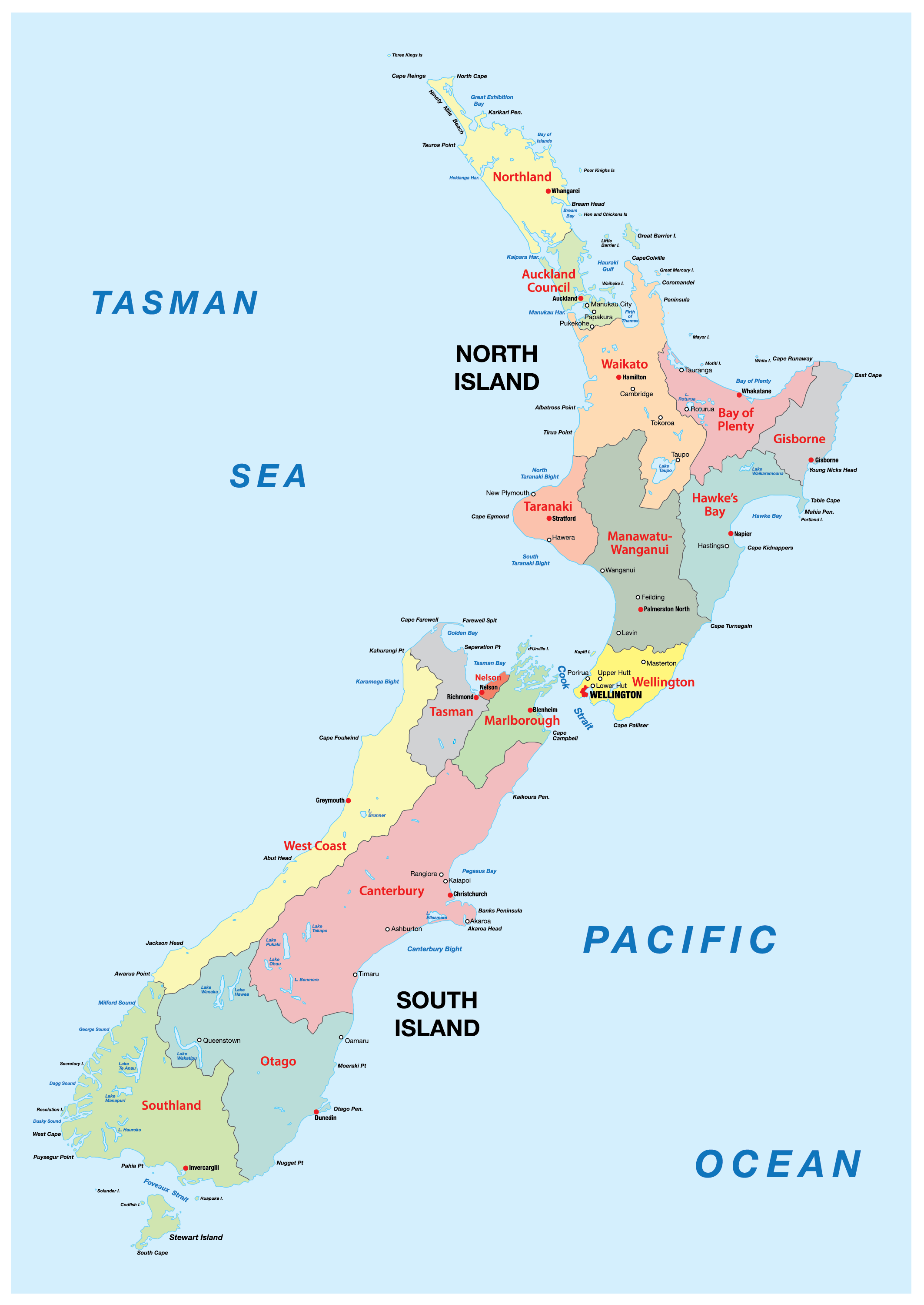 Political Map of New Zealand showing its 16 regions and 1 territorial authority and the capital city of Wellington