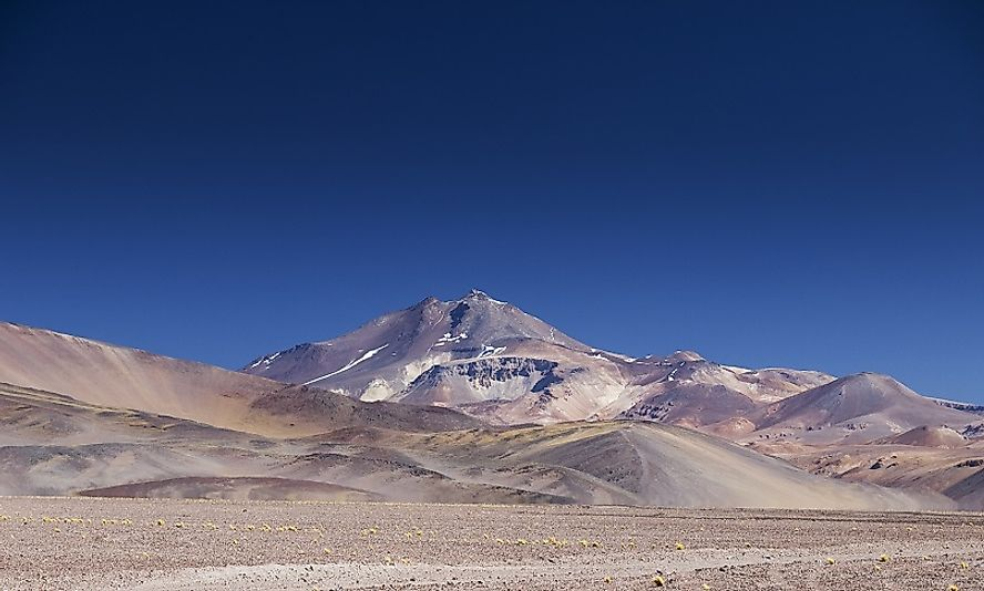 Ojos del Salado rises up above the Atacama Desert in Chile.
