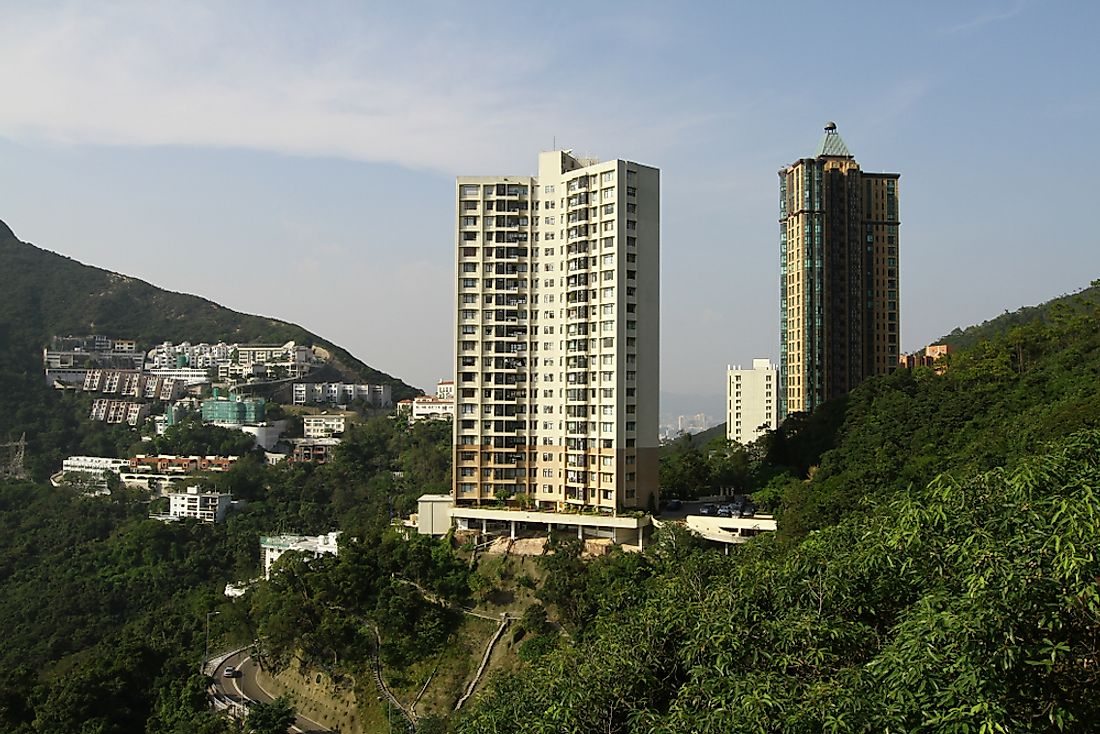 Apartment complexes in Hong Kong.