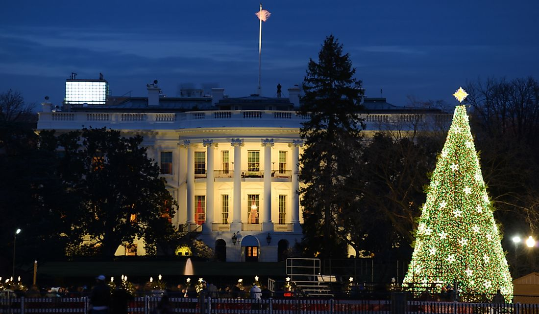 The White House traditionally decorates for the Christmas holidays.