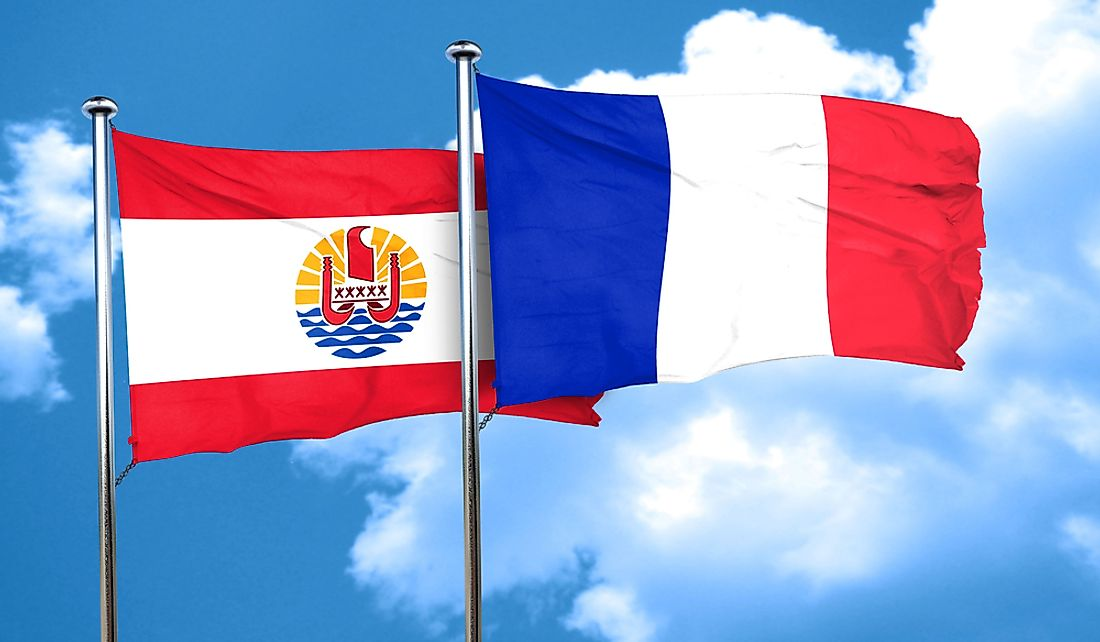 Flags of France and the French territory of French Polynesia.