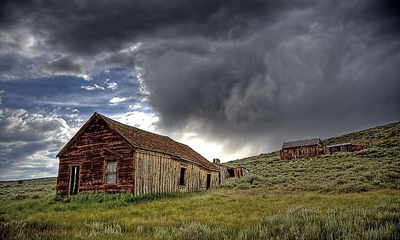 Dark clouds loom over the famous ghost town of Bodie, California. Ghost towns are often the subject of legends and folklore.