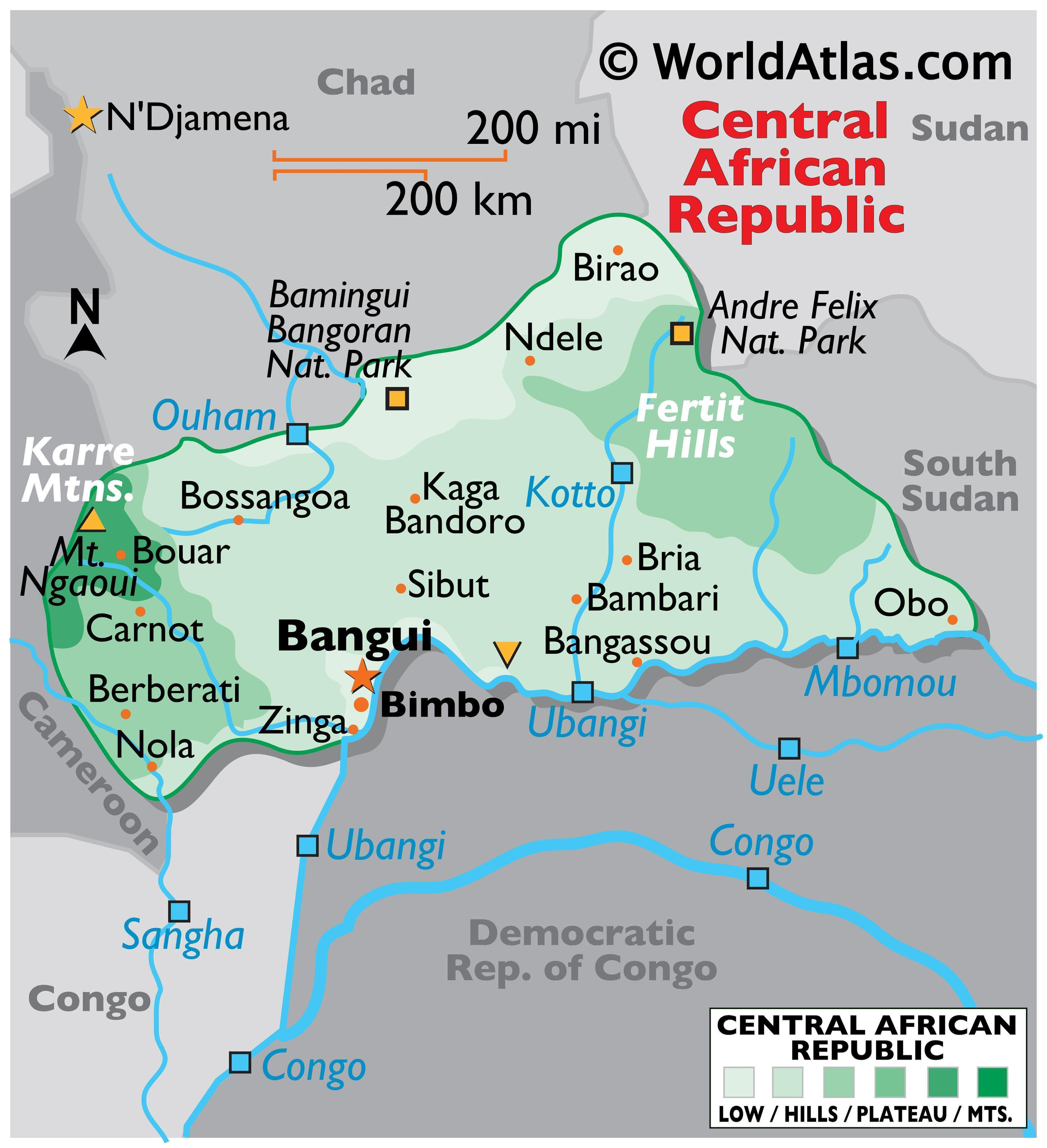 Physical Map of Central African Republic showing state boundaries, relief, major rivers, extreme points, national parks, etc.