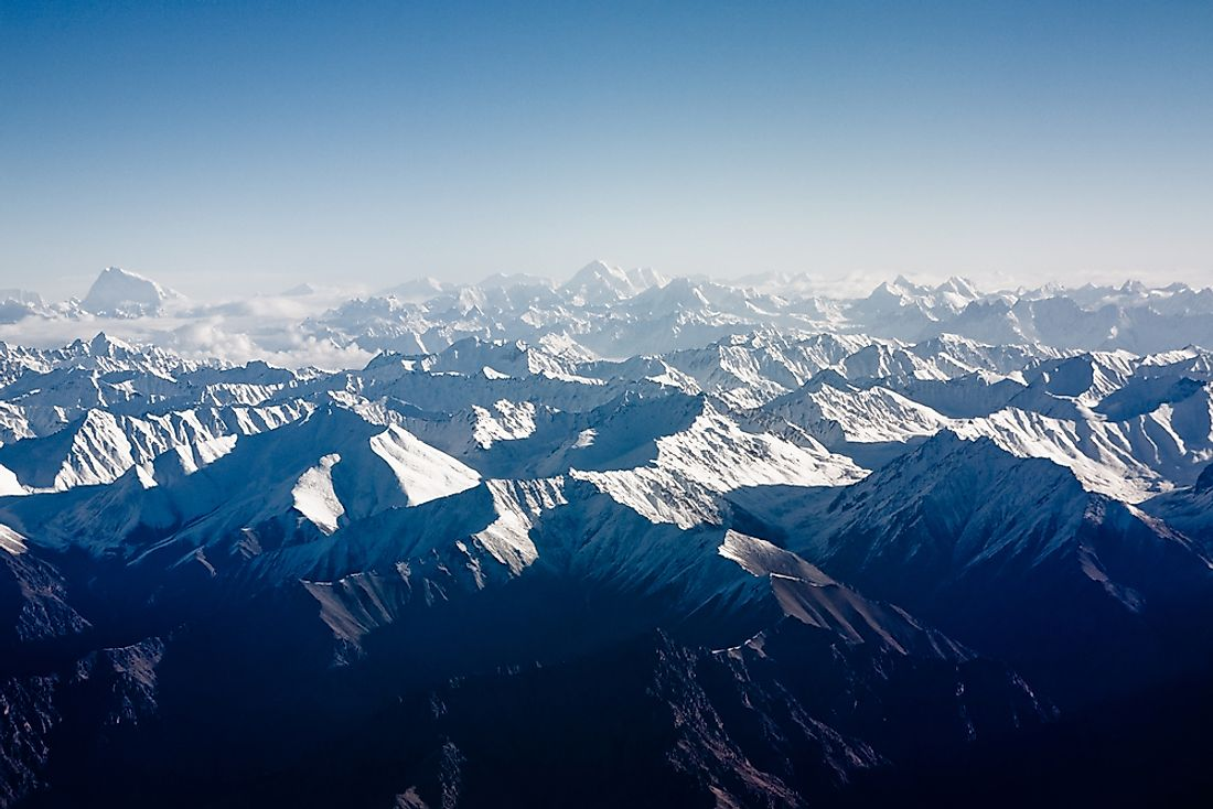 An aerial view of the spectacular Himalayan Range.