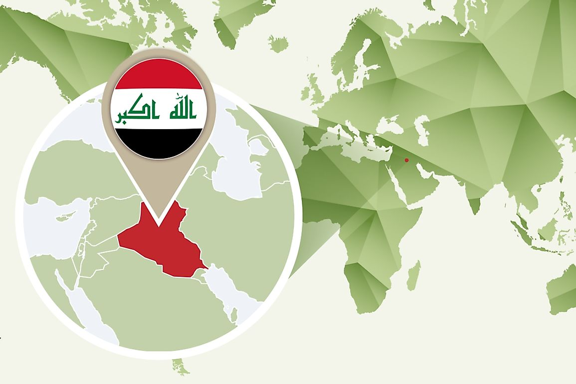 Iraq borders the Persian Gulf and six countries in the Middle East.