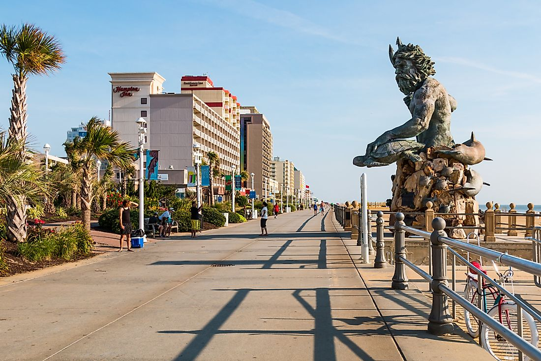 The boardwalk at Virginia Beach. Editorial credit: Sherry V Smith / Shutterstock.com.