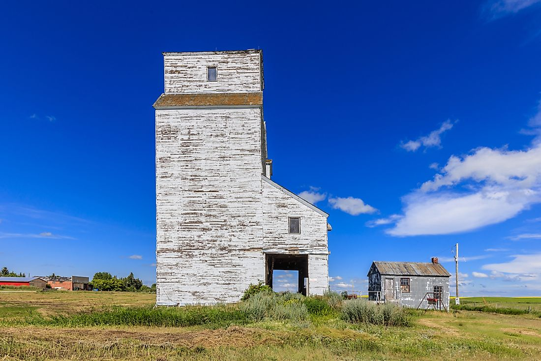A grain elevator on the Canadian prairie.