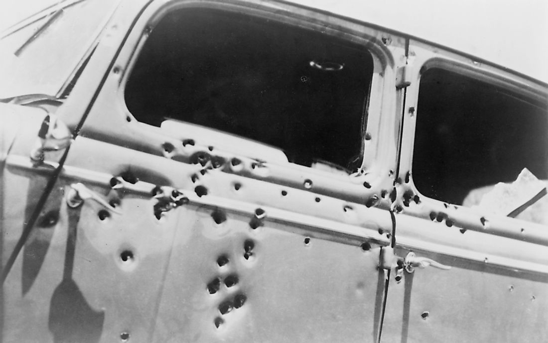 The bullet riddled car in which bank robbers Bonnie and Clyde died at the hands of Texas Rangers and Louisana police at Gibsland, Louisiana on May 23, 1934.