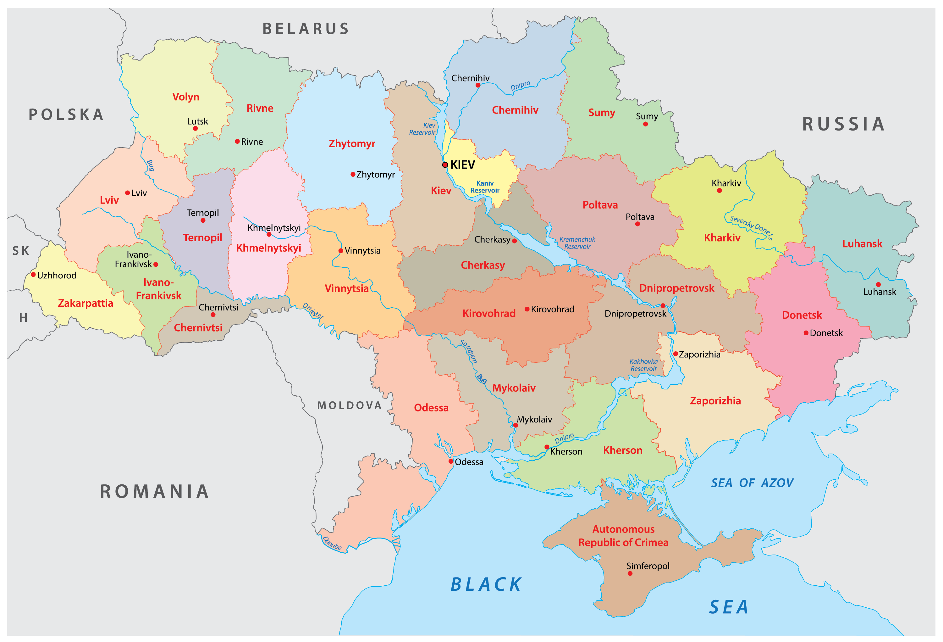 Political Map of Ukraine showing 24 provinces and the capital city of Kiev.