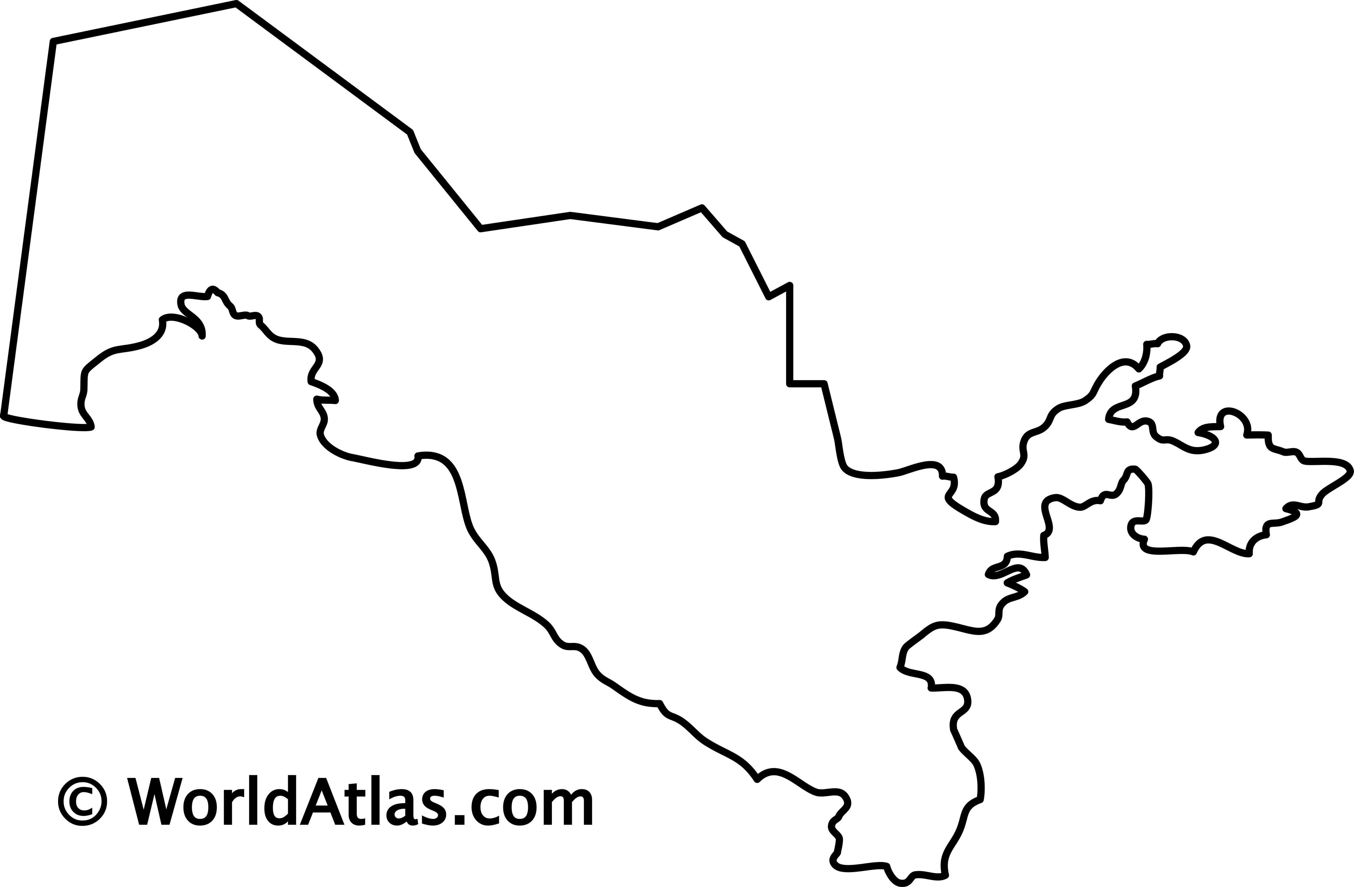 Blank Outline Map of Uzbekistan