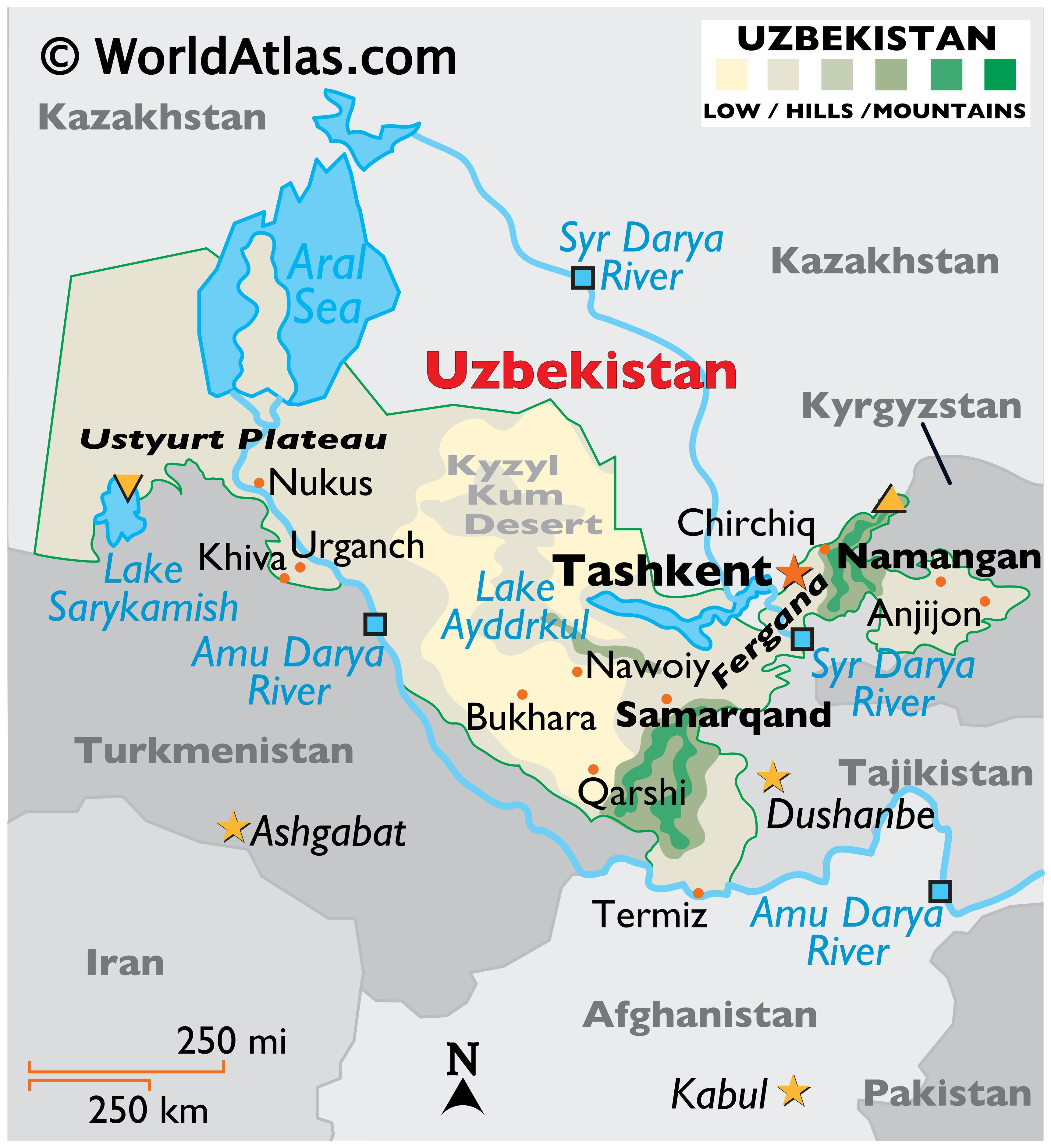 Physical Map of Uzbekistan with state boundaries, relief, major rivers, lakes, highland areas, highest peak, important cities, and more.