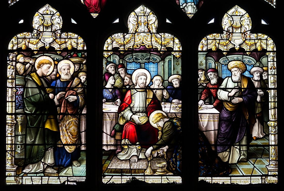 Stained glass artwork depicting Simon the Pharisee. Editorial credit: Jacek Wojnarowski / Shutterstock.com.