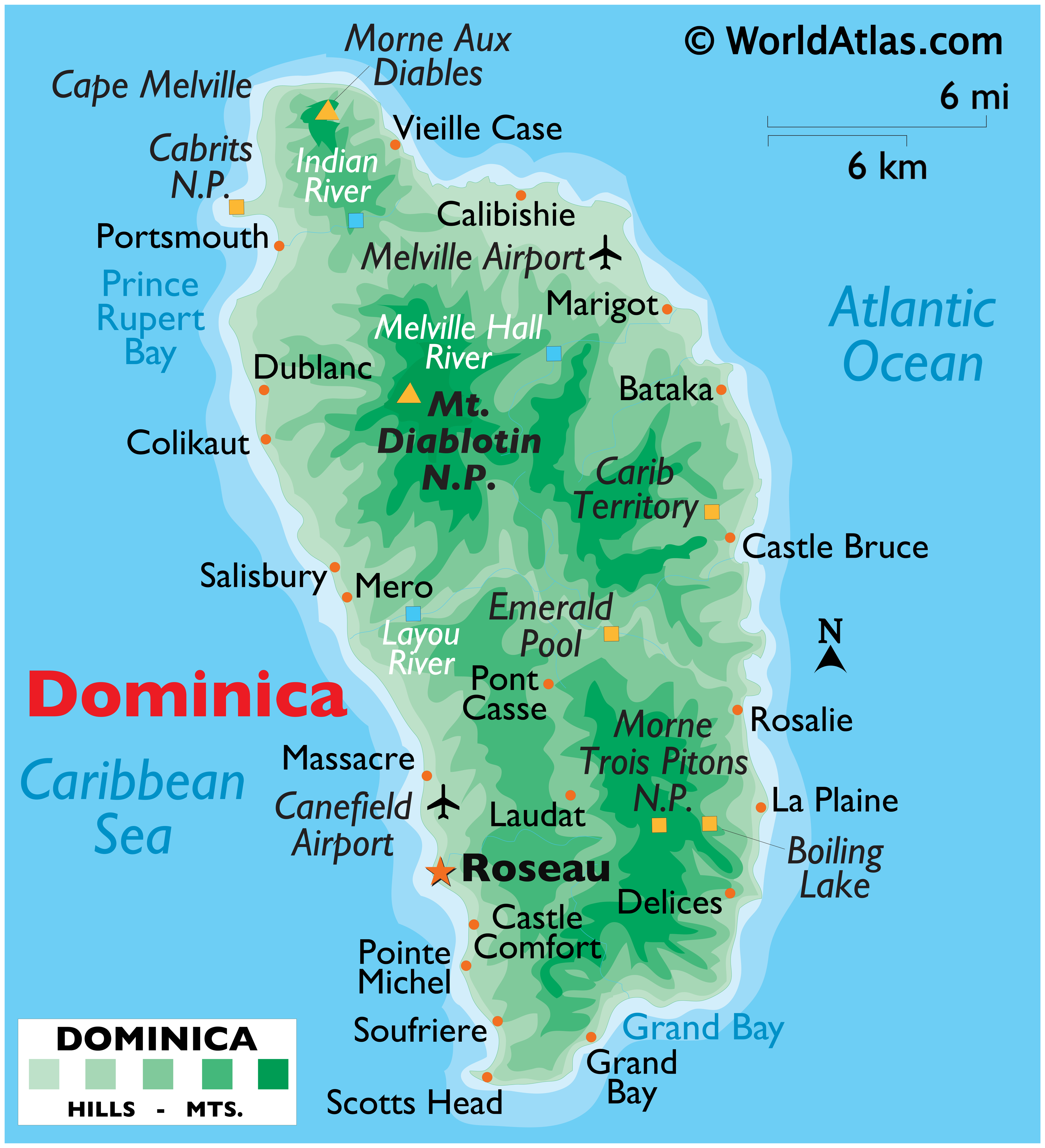 Physical Map of Dominica showing terrain, highest point, important settlements, airports, surrounding water bodies, etc.