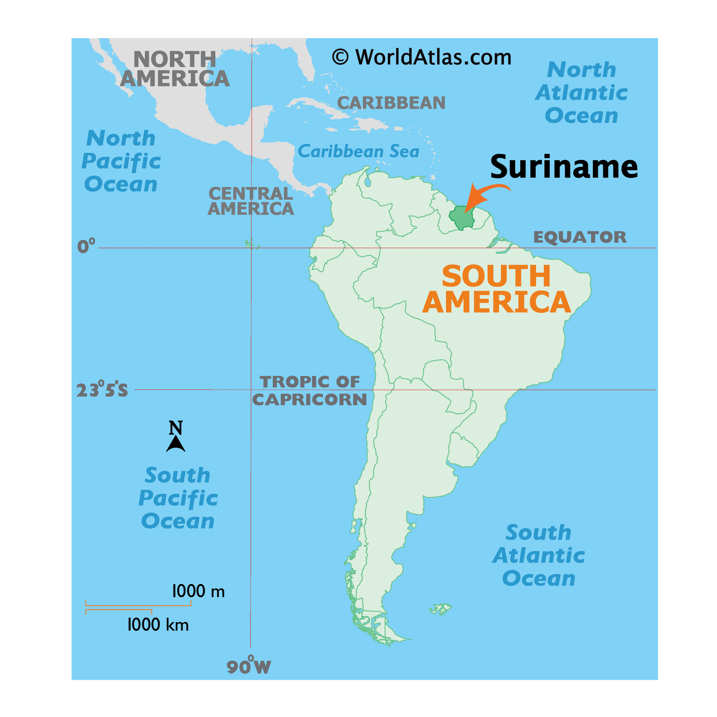 Map showing location of Suriname in the world.
