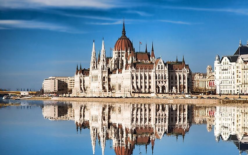Hungarian Parliament Building along the banks of the Danube in Budapest.