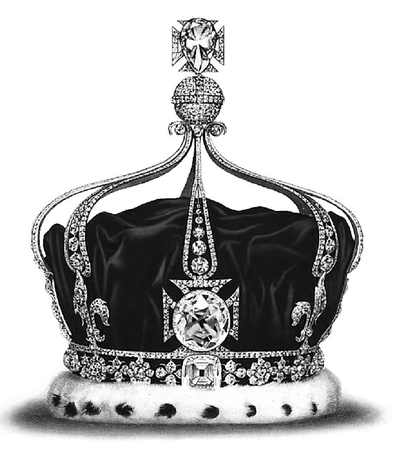 The Koh-i-Noor Diamond in front of the Crown of Queen Mary in the early 20th Century as part of the Crown Jewels of England.
