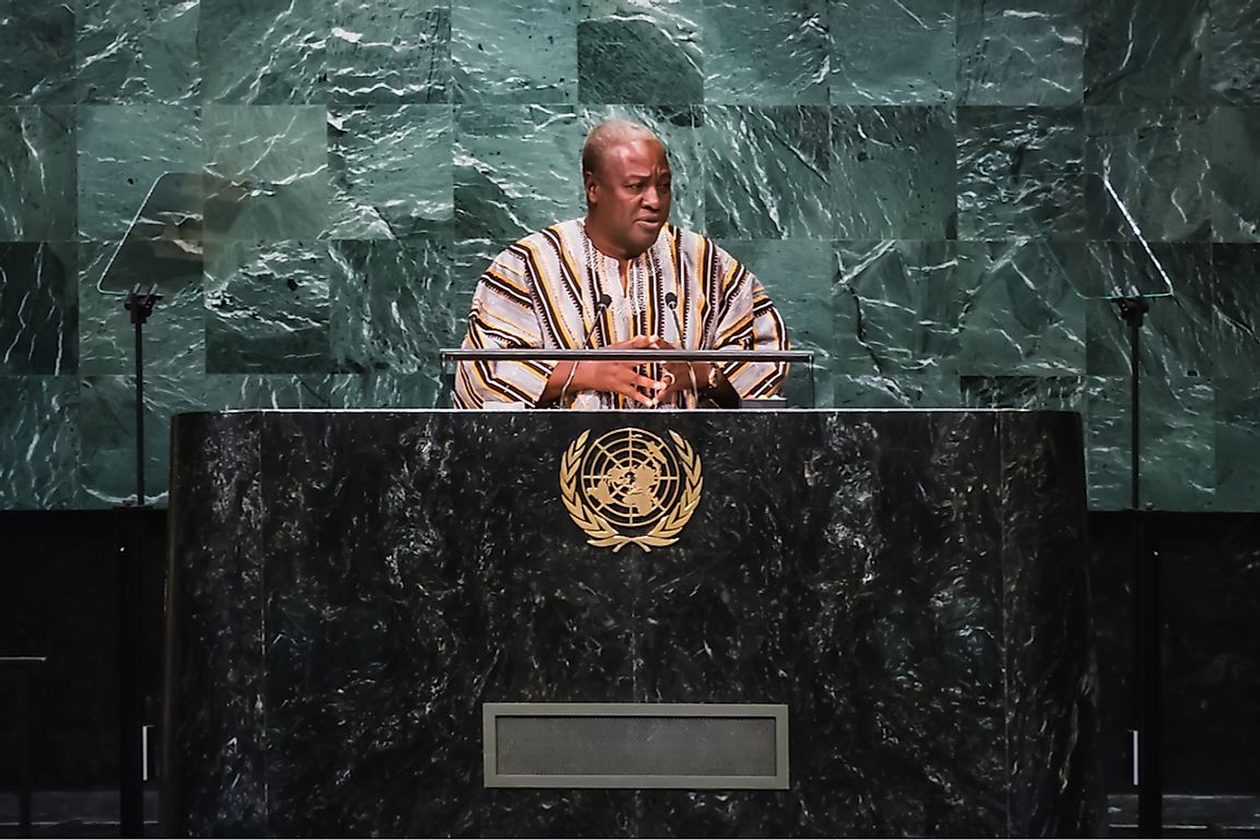 John Dramani Mahama, the then President of Ghana, addressing the UN. Editorial credit: Drop of Light / Shutterstock.com