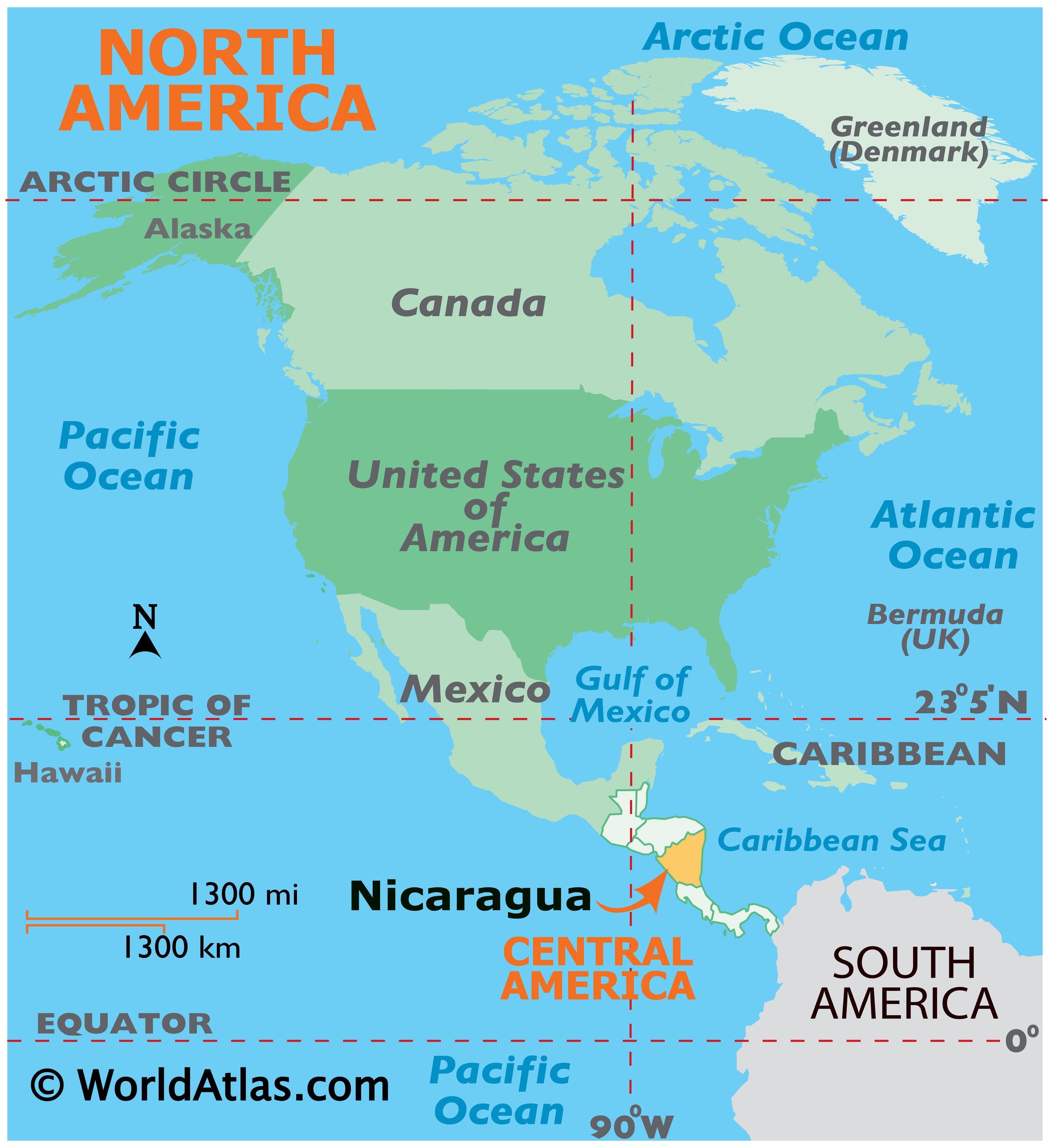 Map showing location of Nicaragua in the world.