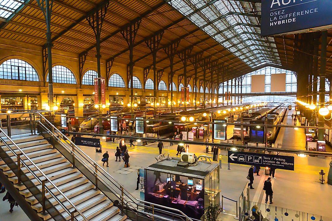 Paris' Garde du nord is the busiest railway station in Europe by passenger traffic. Editorial credit: TungCheung / Shutterstock.com.