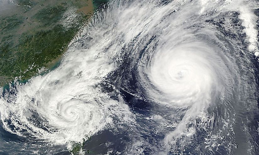 The Fujiwhara Effect is exhibited when two cyclones approach close enough to interact with each other.