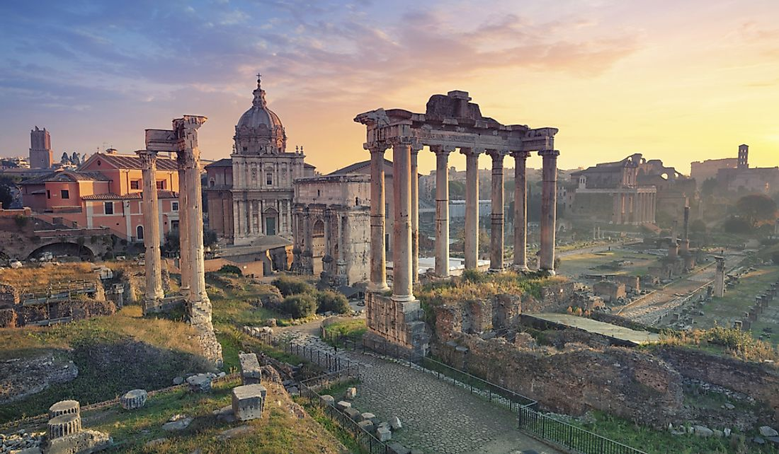 The Roman Forum is a popular tourism site in Italy.