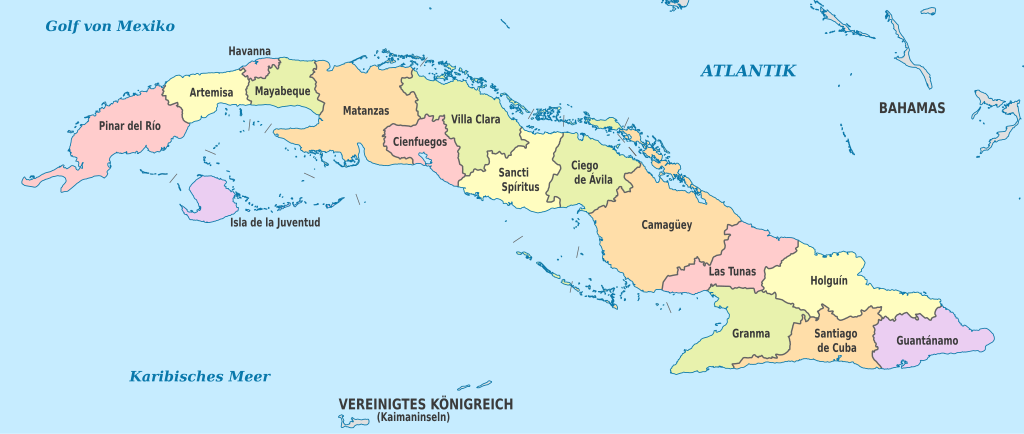 The Administrative Divisions Of Cuba, The Largest Of The Caribbean Islands.