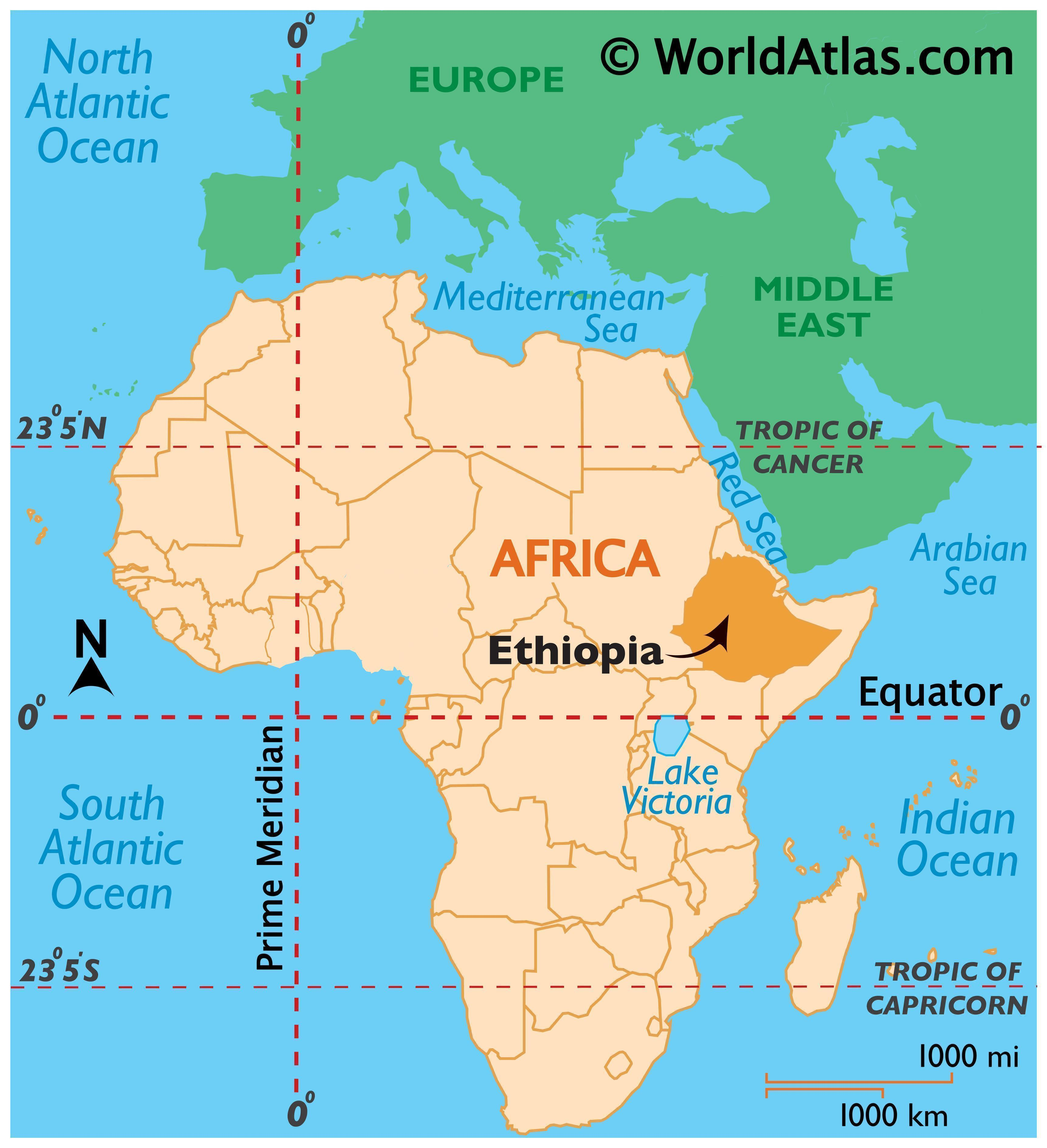 Map showing location of Ethiopia in the world.