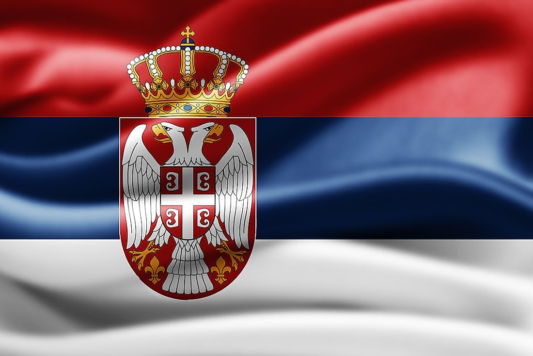 The official flag of Serbia.