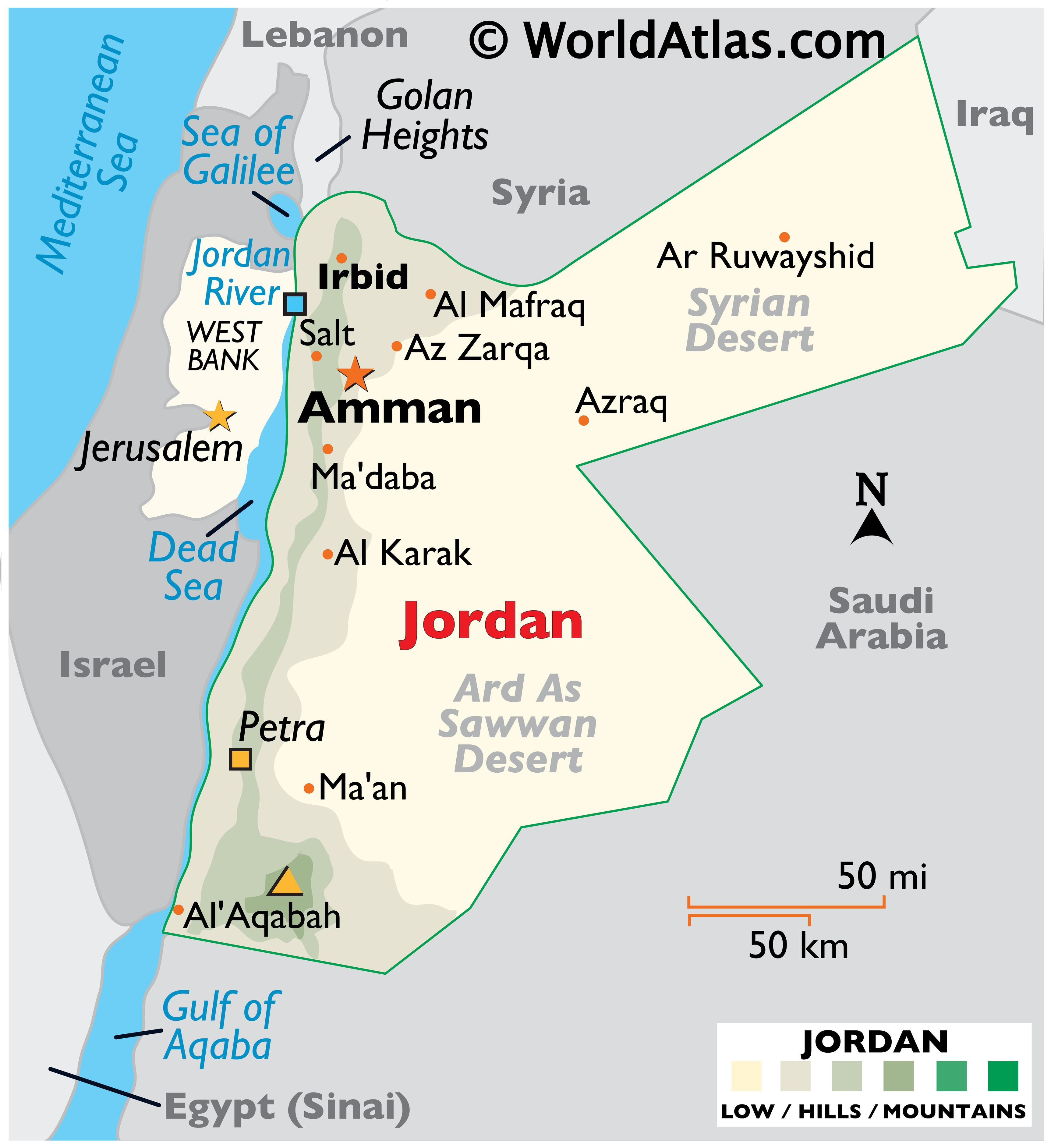 Physical Map of Jordan showing relief, highest point, Jordan River, Dead Sea, Syria Desert, and Ard As Sawwan Desert.