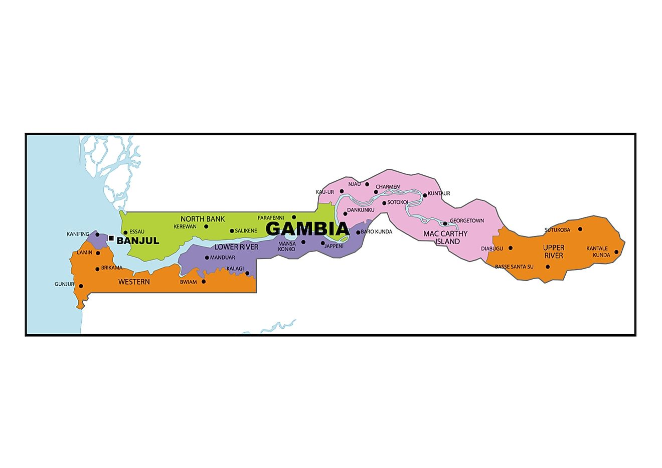 Political Map of The Gambia showing the 5 regions and the capital city of Banjul.