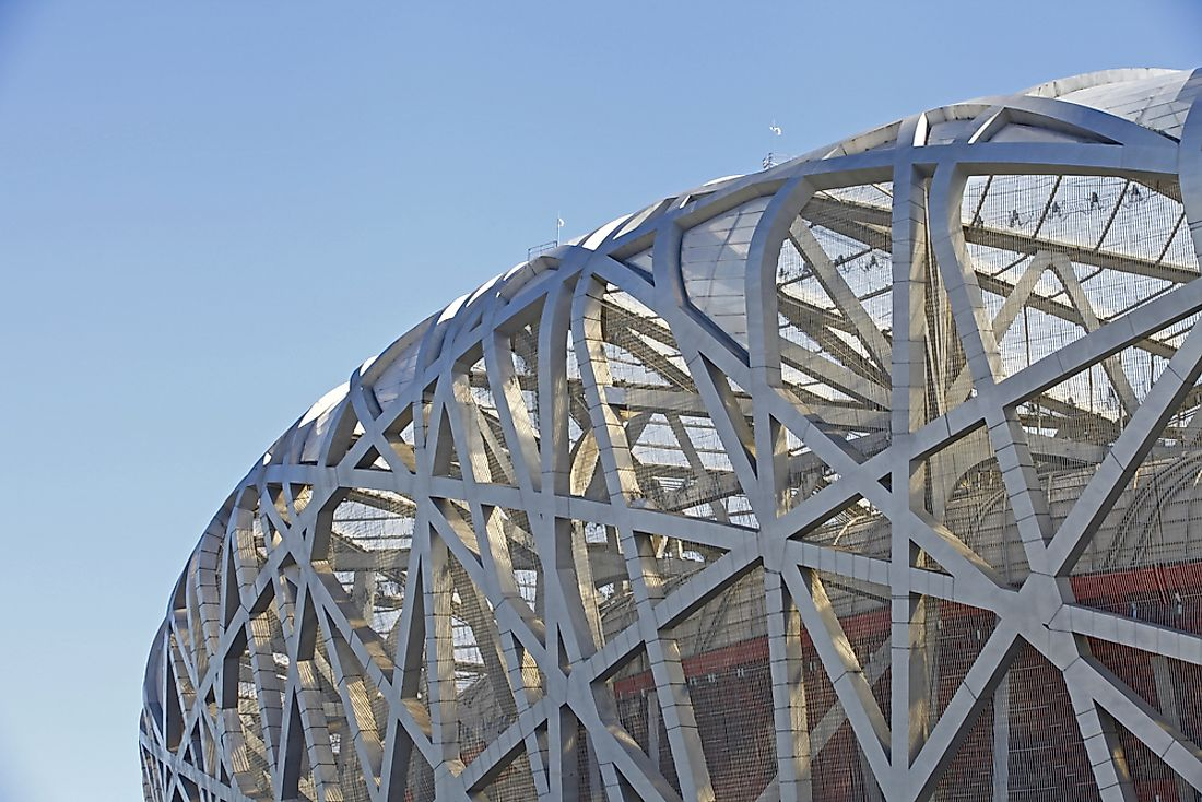 "Beijing National Stadium, also known as the ""bird's nest""."