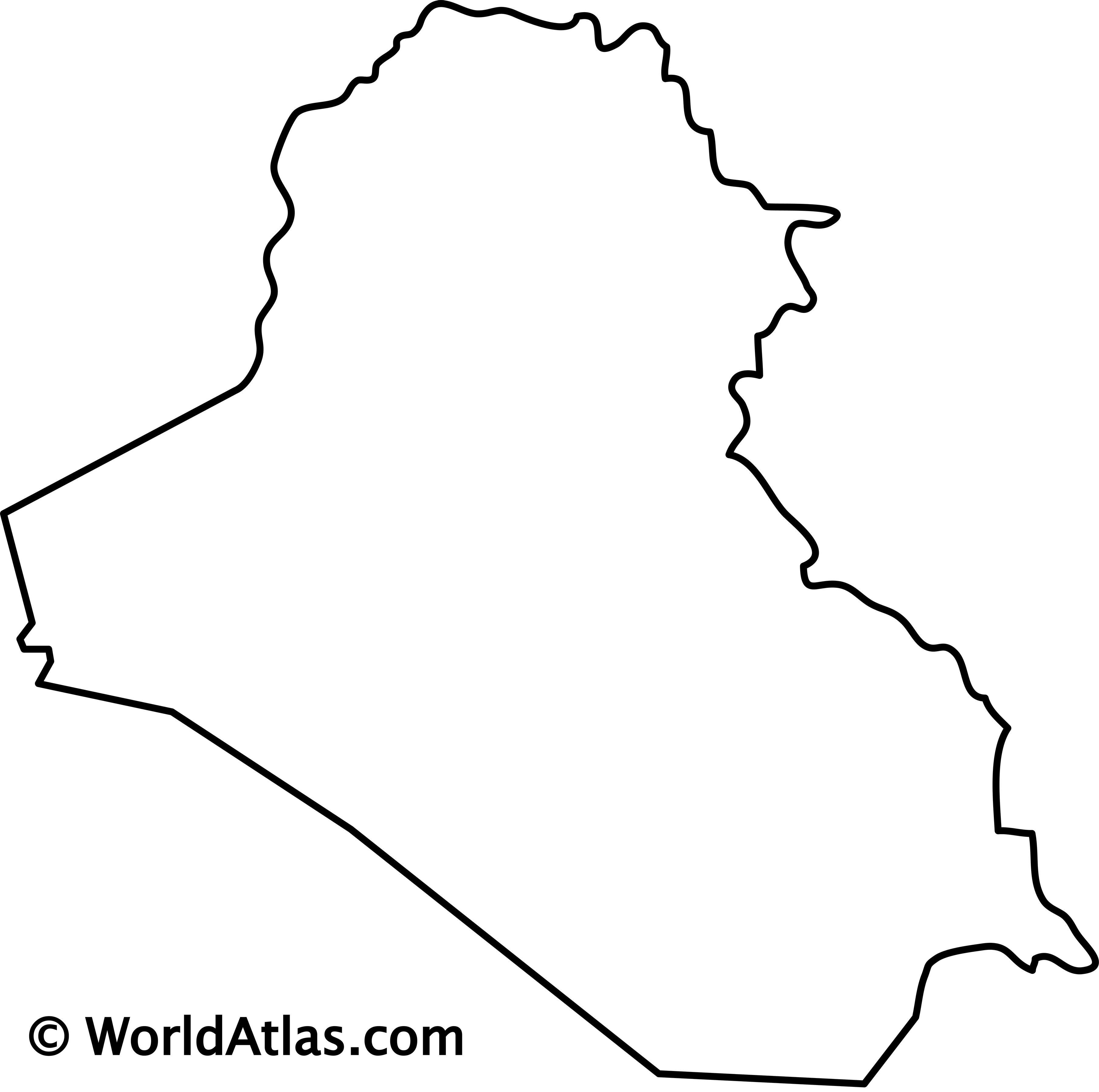 Blank Outline Map of Iraq