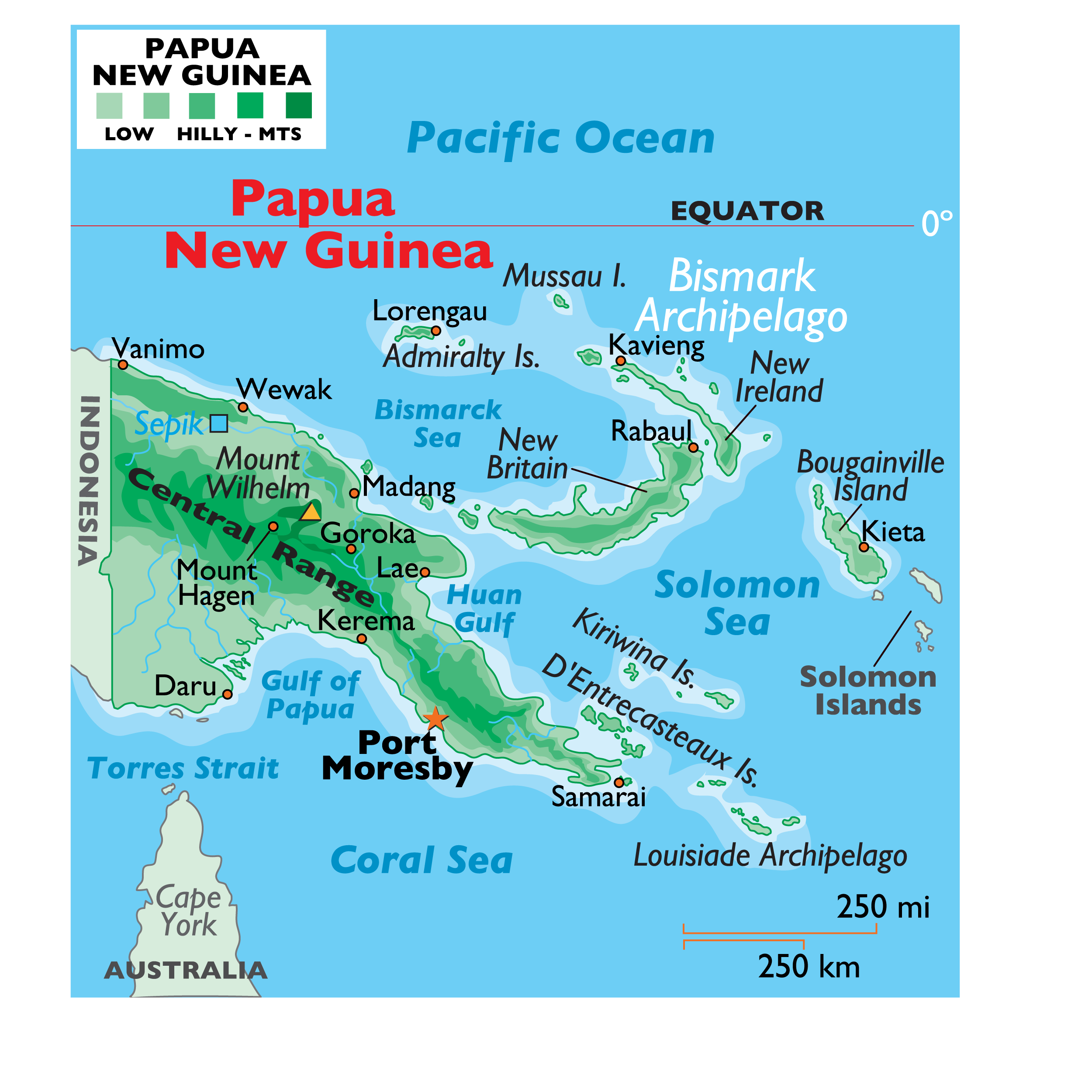 Physical Map of Papua New Guinea showing relief, mountains, major islands, surrounding seas and gulfs, and more.