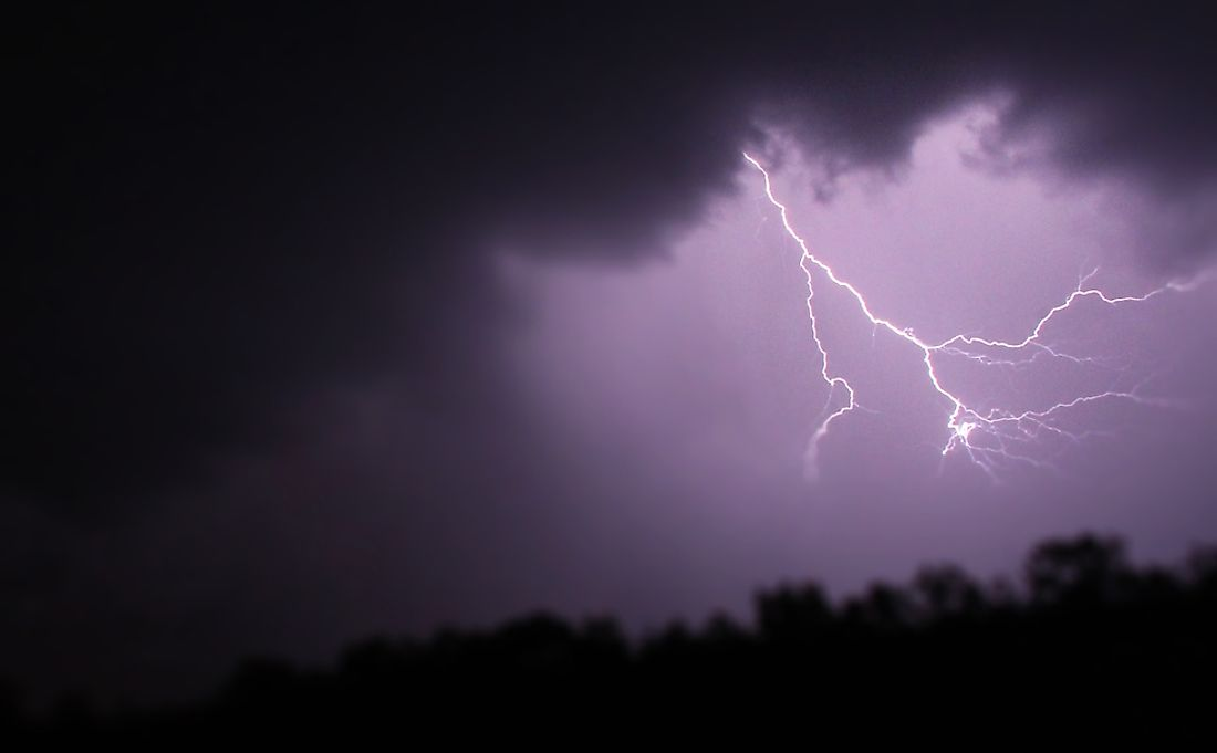 Lightning can be intra-cloud, cloud to cloud, or cloud to ground.