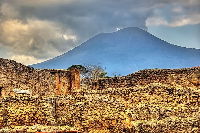 The ruins of the Ancient Roman city of Pompeii at the foot of Vesuvius.