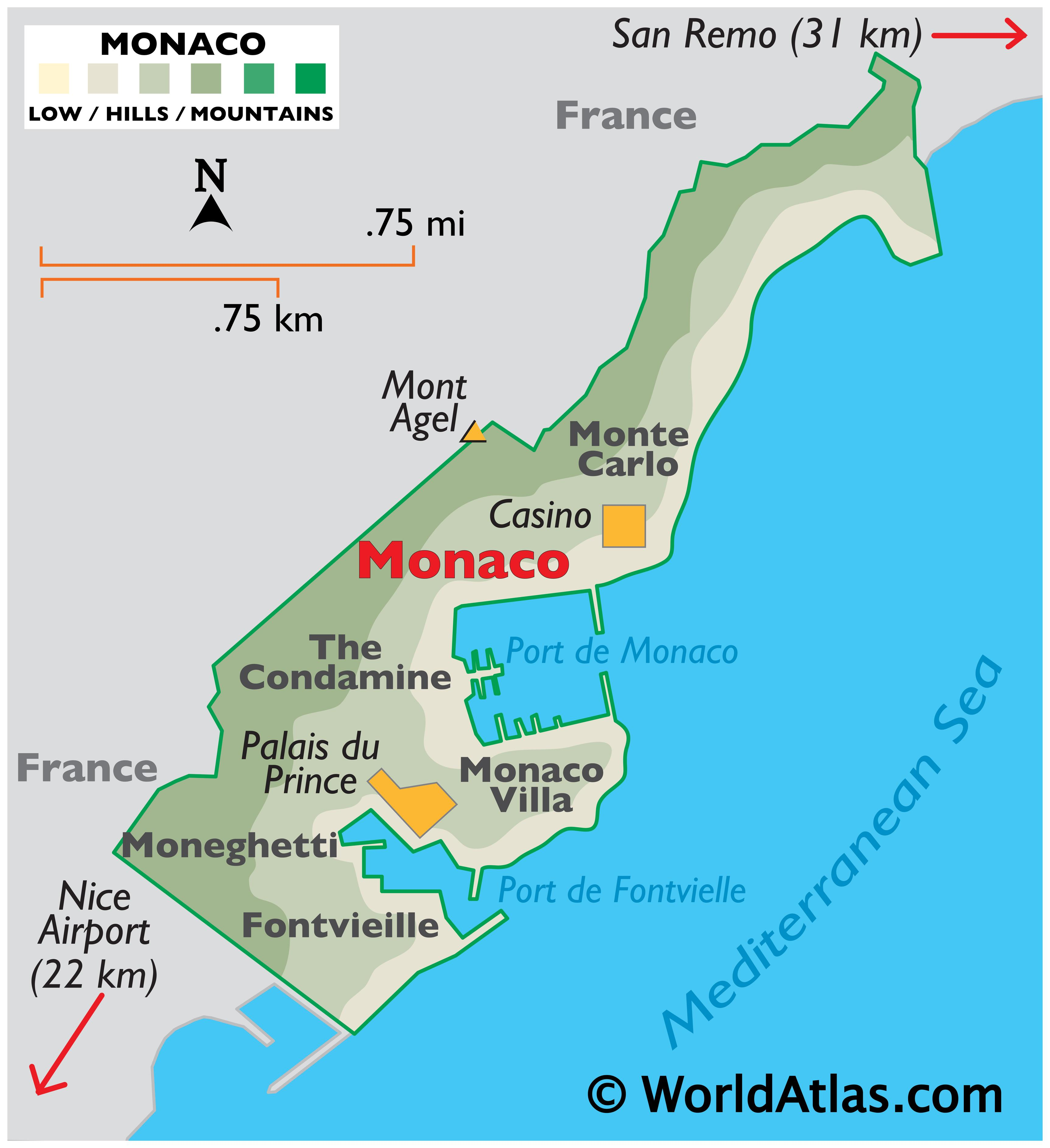 Physical Map Monaco showing relief, coast, ports, important urban centres, the highest point of Mont Agel, and the Casino.