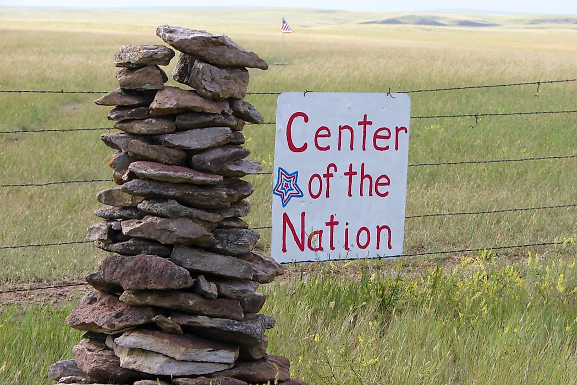 The geographic center of the US lies within private land near Belle Fourche, South Dakota.