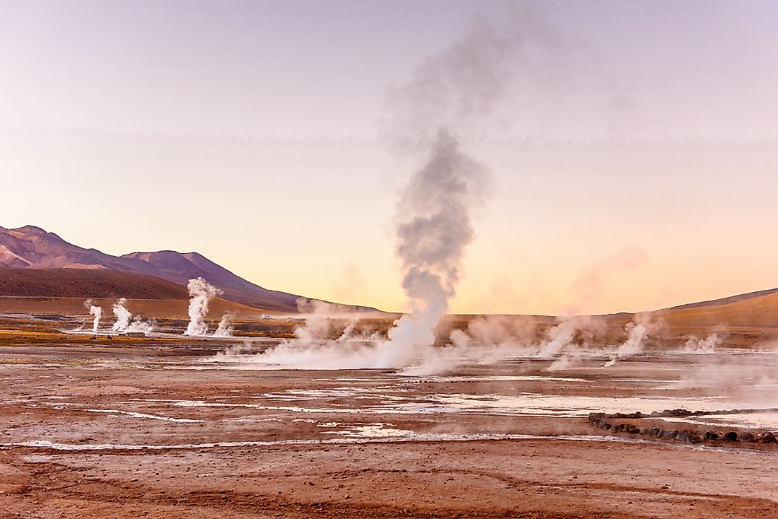 The El Tatio field is located at the base of stratovolcanoes within the Andes Mountains in the northern part of Chile.