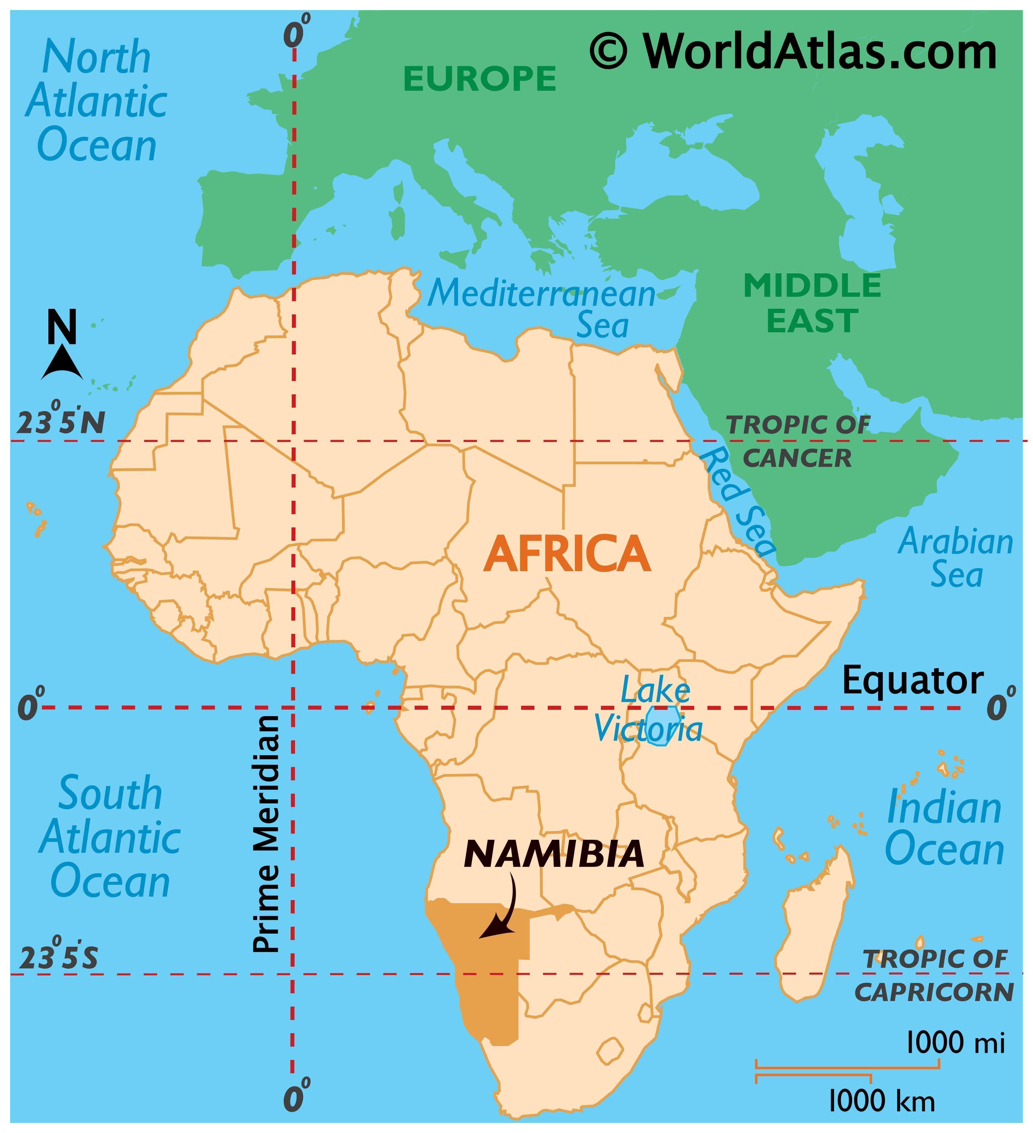 Map showing location of Namibia in the world.