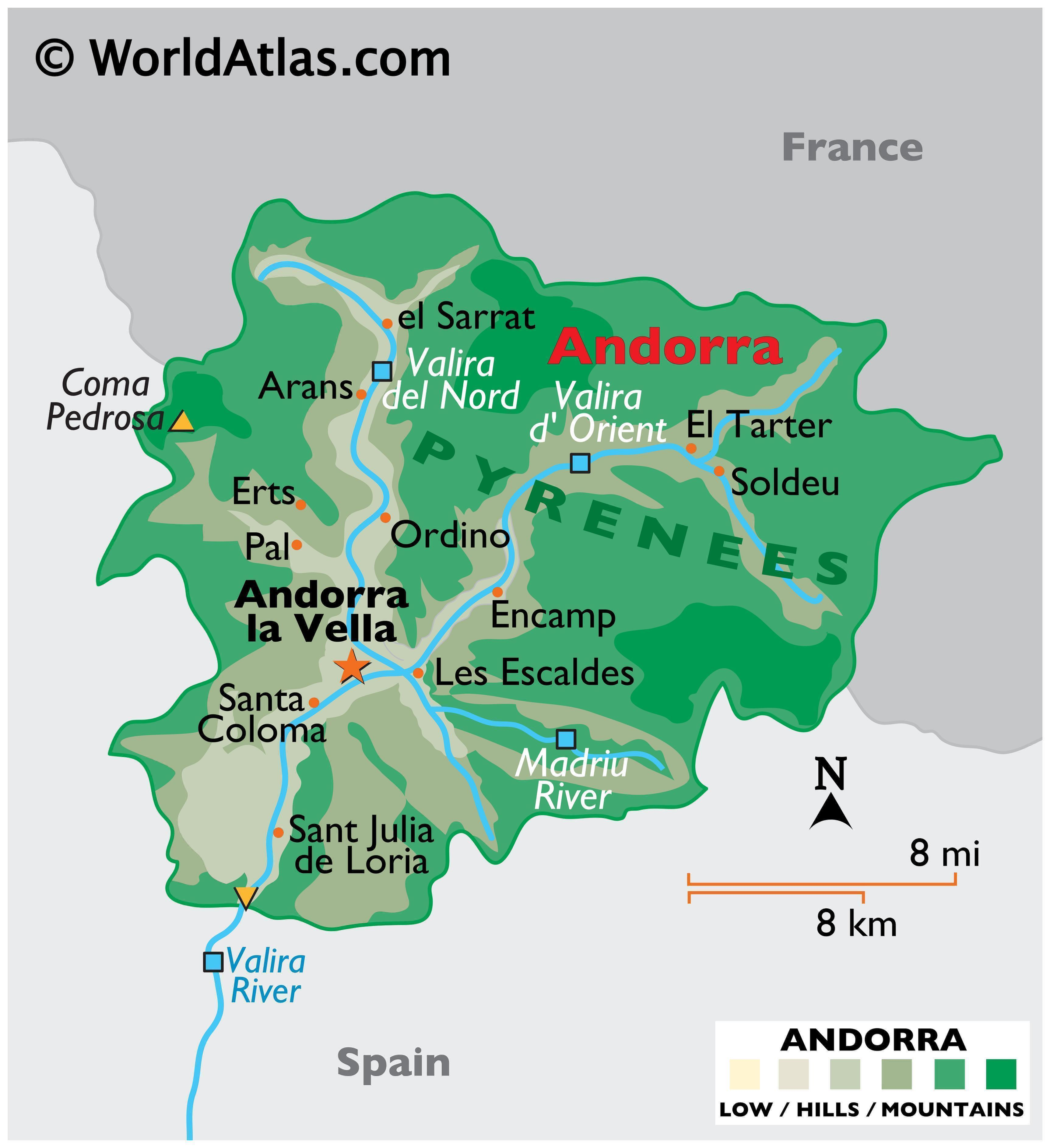 Physical Map of Andorra showing terrain, major rivers, extreme points, mountain ranges, important cities, international boundaries, etc.