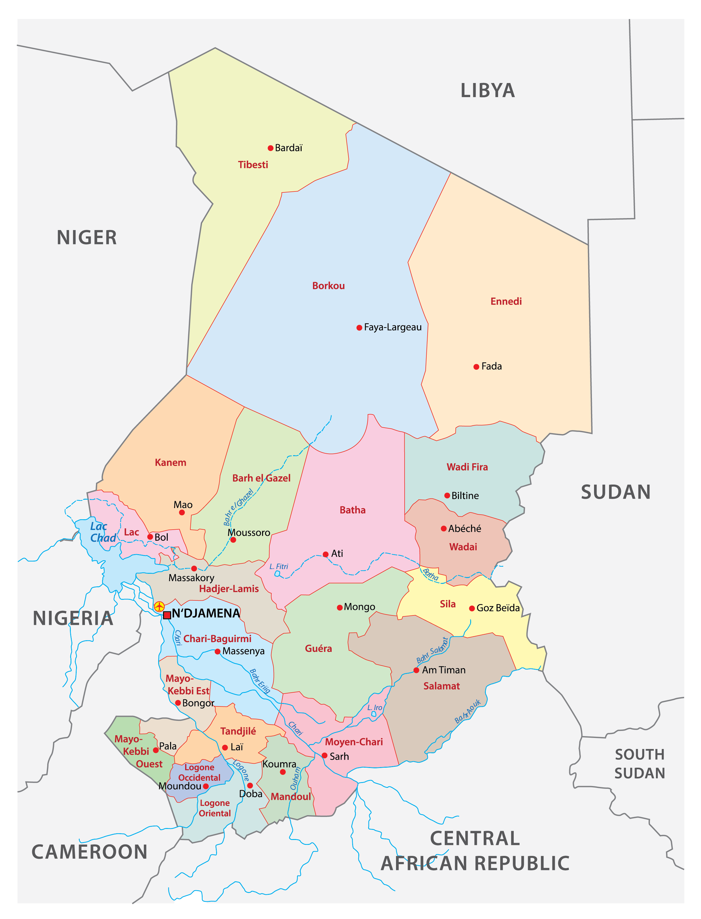 Political map of Chad showing the 23 regions of the country, their capital cities including the national capital of N'Djamena.
