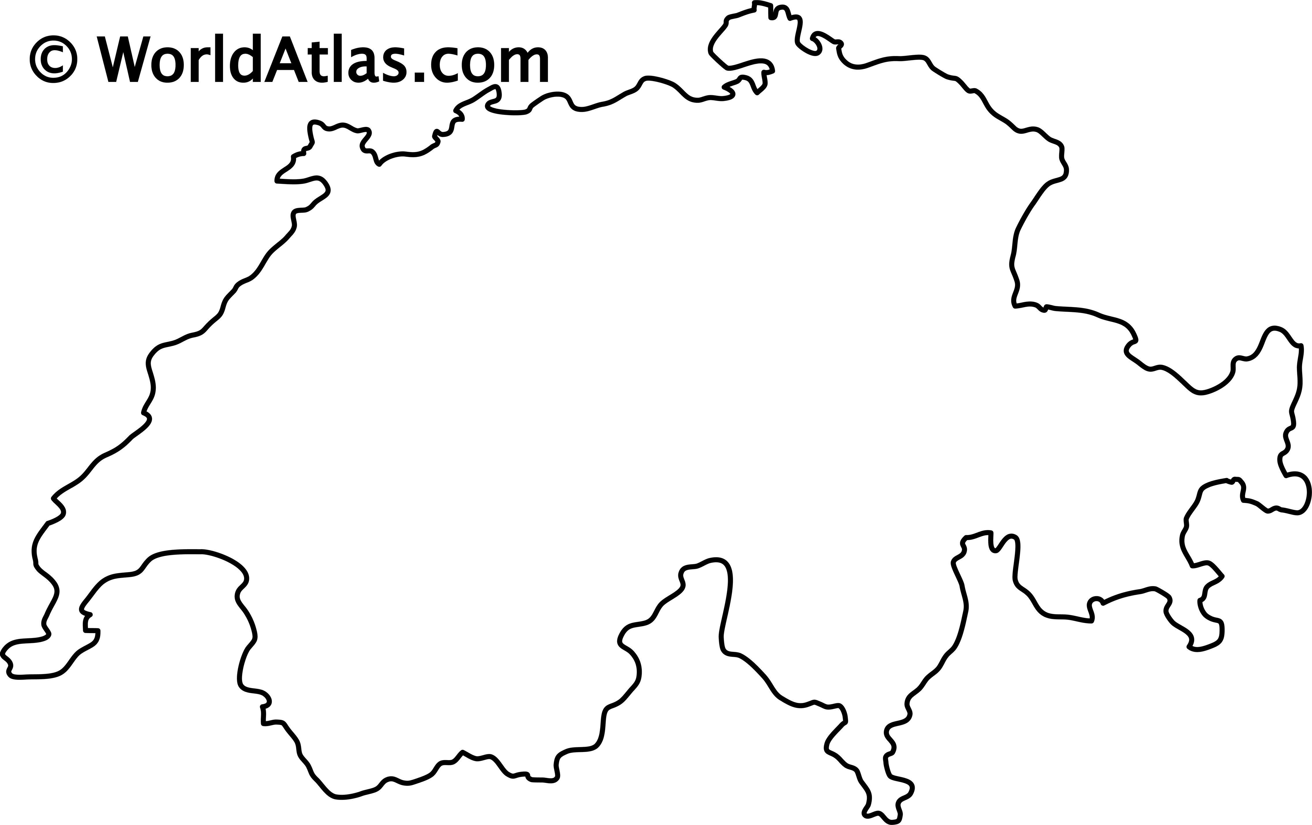Blank Outline Map of Switzerland